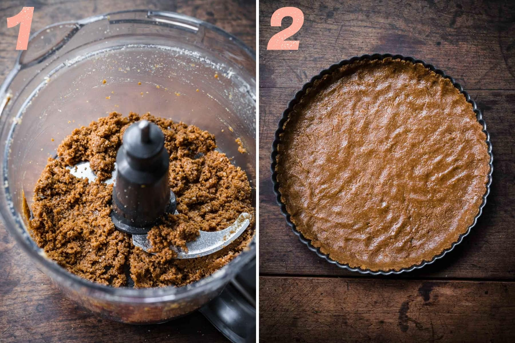 before and after blending ingredients for graham cracker crust.