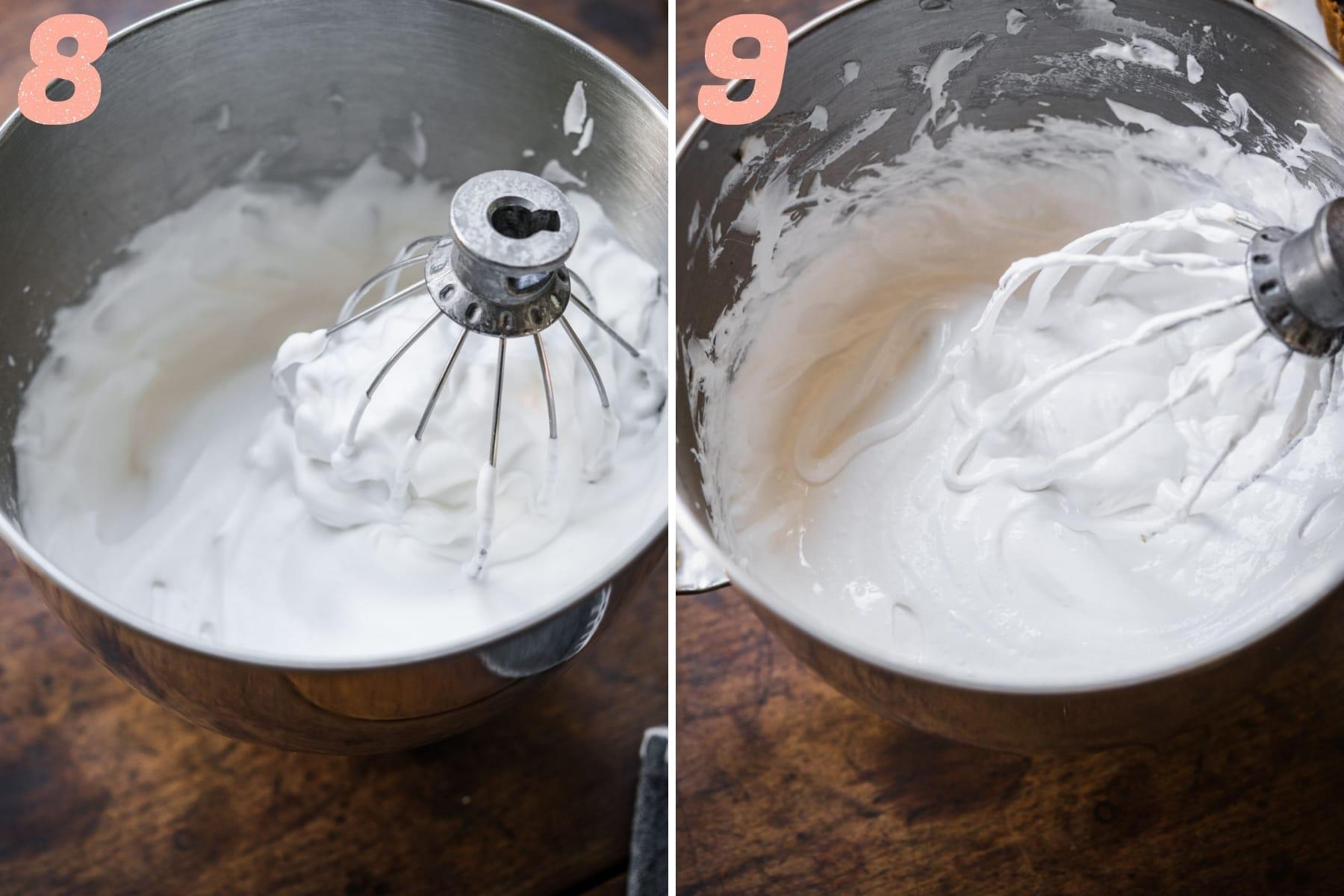 vegan aquafaba meringue in mixing bowl before and after adding sugar.