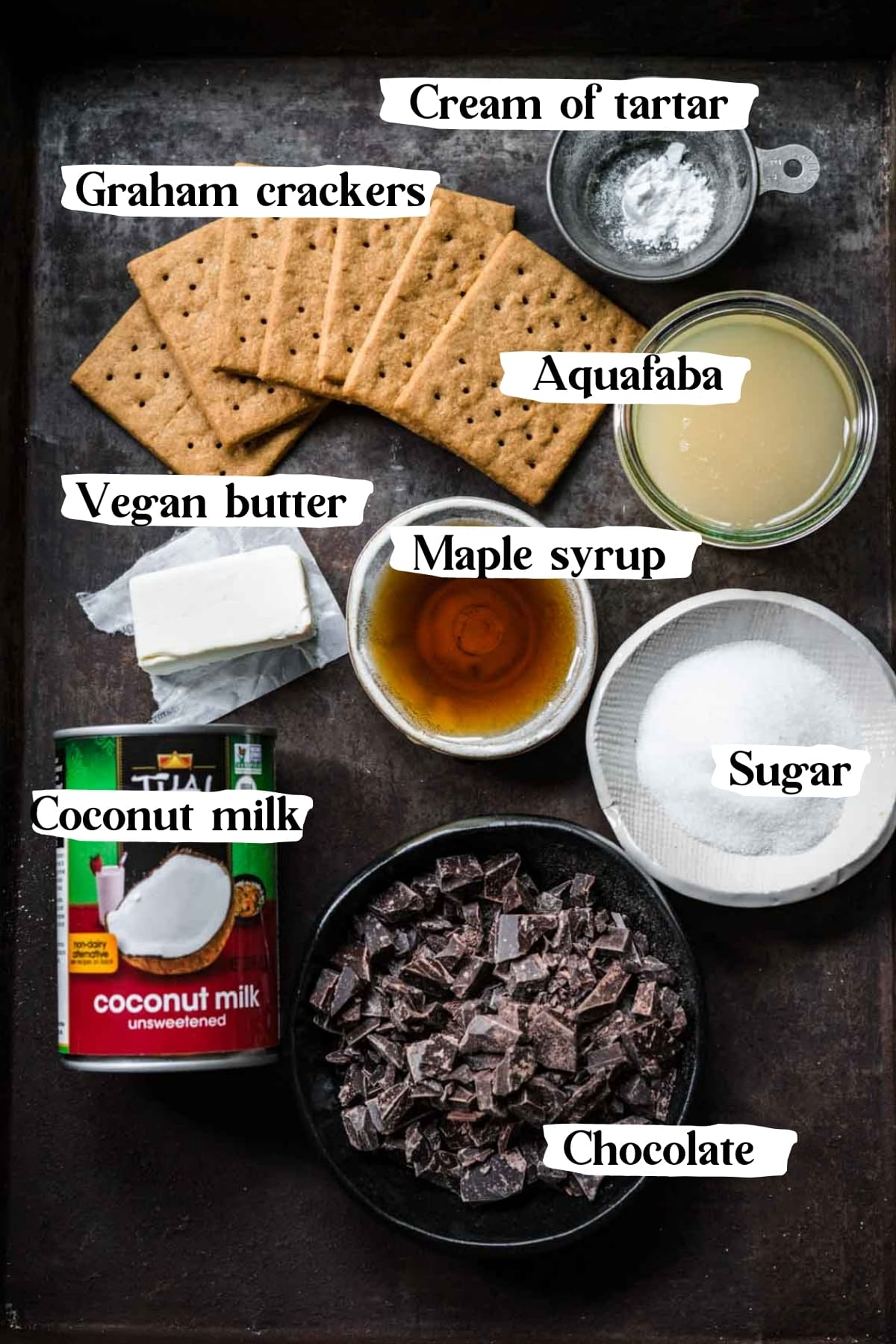 overhead view of ingredients for vegan s'mores tart with text labels.