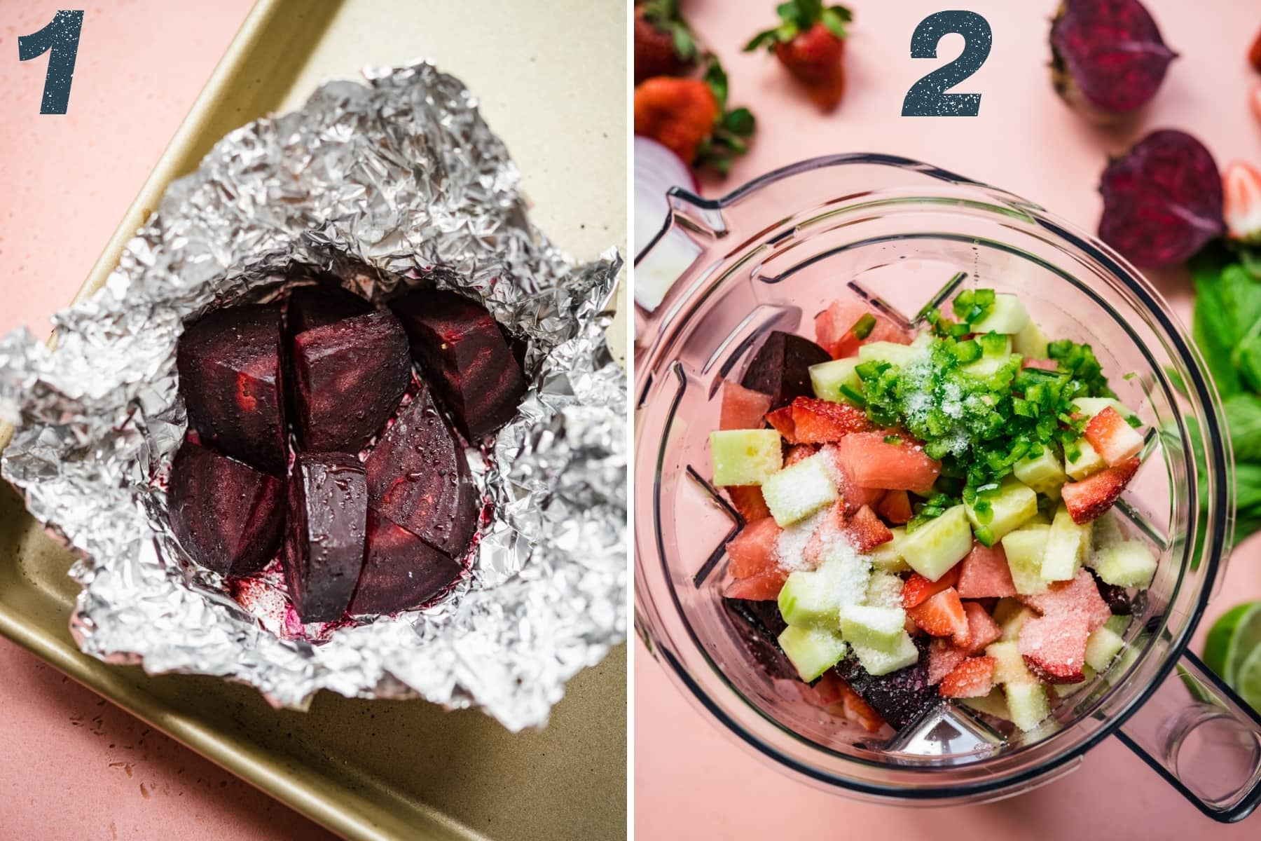 on the left: roasted beets in aluminum foil. on the right: ingredients in blender for strawberry watermelon gazpacho.
