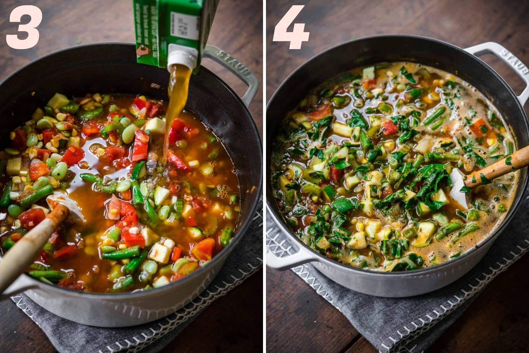 on the left: pouring vegetable broth into soup. on the right: summer vegetable minestrone in pot.