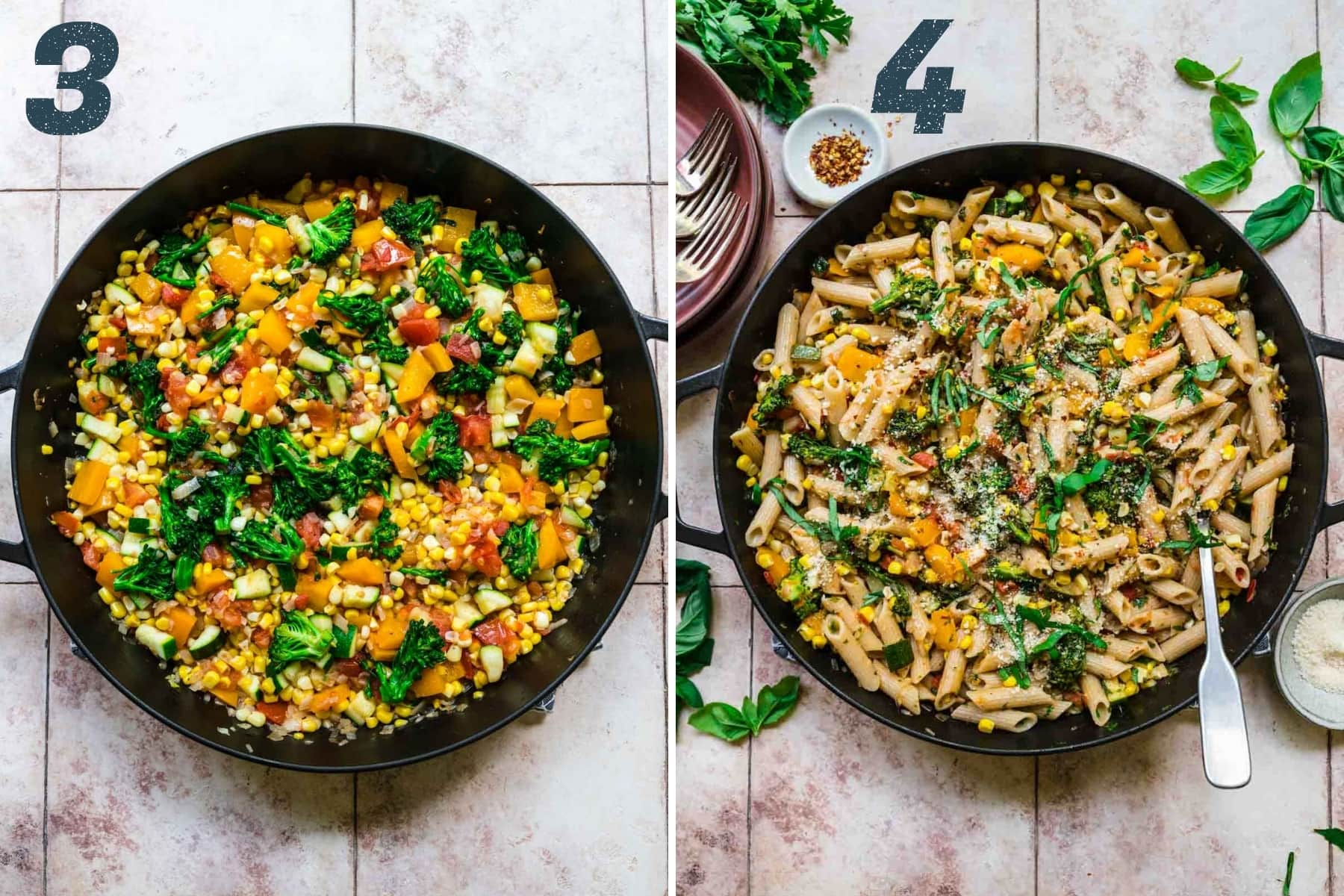 before and after adding cooked pasta to summer vegetable pasta.