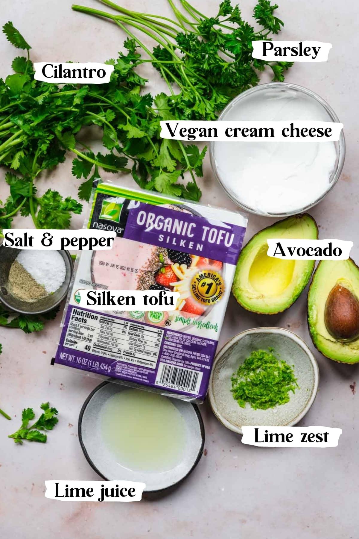 overhead view of ingredients for herb tofu dip.