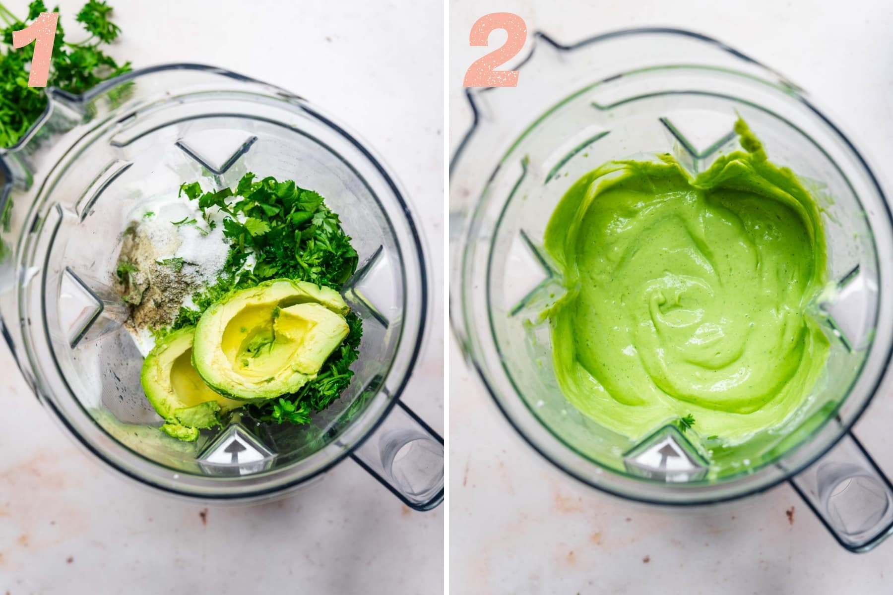 before and after blending herby tofu dip in blender.
