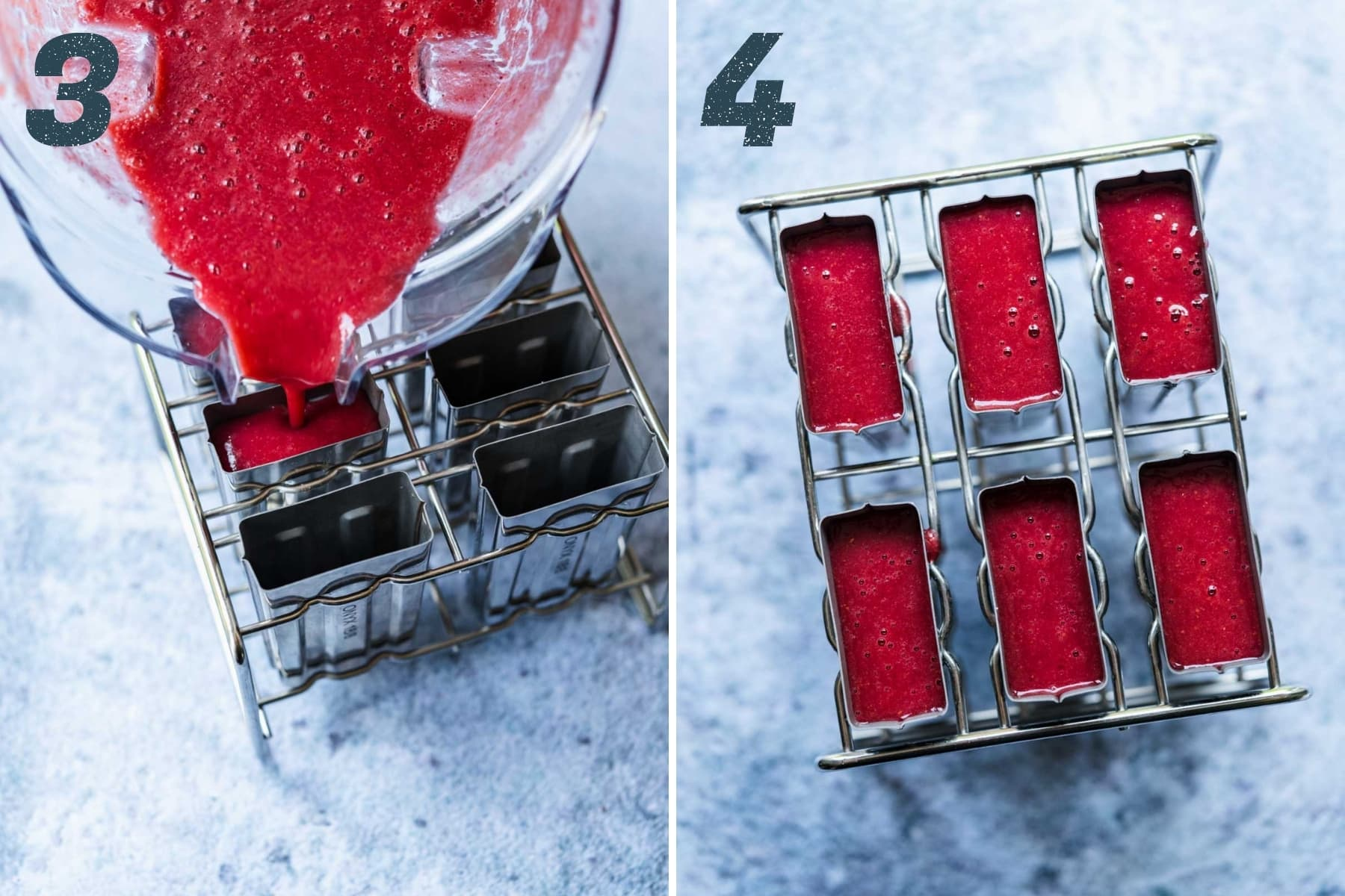 on the left: pouring watermelon berry mixture into popsicle molds. on the right: popsicles before freezing in molds.