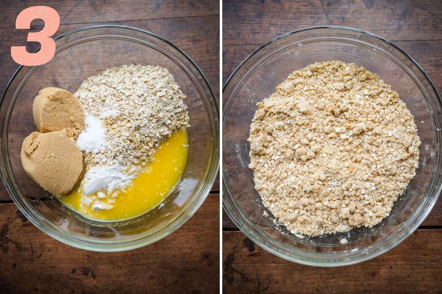 Overhead shots of the mixture ingredients coming together to form a crumble.