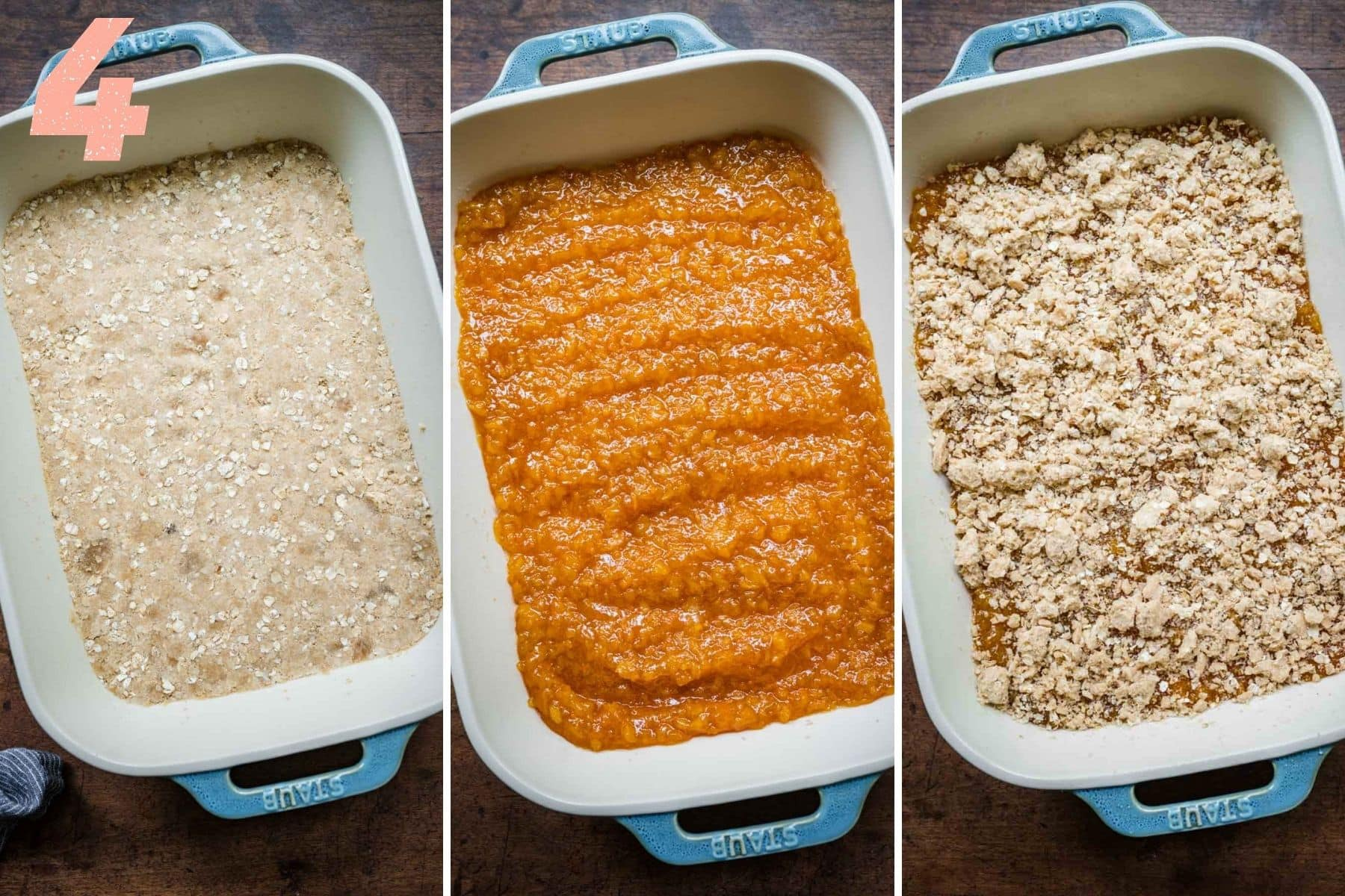 Overhead shots of adding crust, filling, and then more mixture on top before baking.