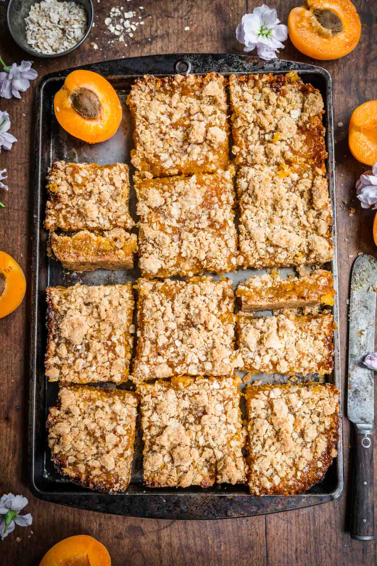 Fully baked apricot bars cut into squares set atop a tray.