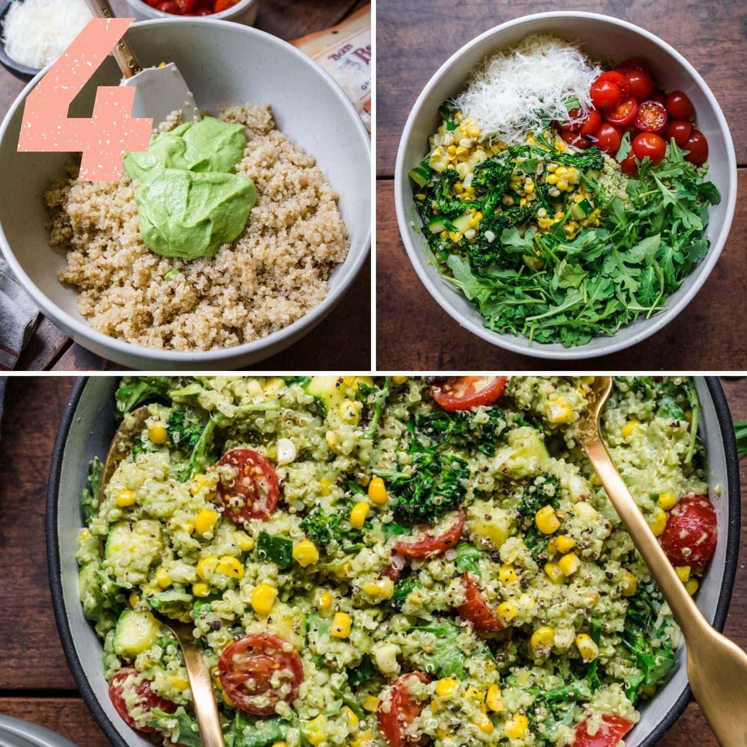 Final step with 3 pictures in one. Stir dressing into quinoa, add the rest of the ingredients to the bowl, then toss.
