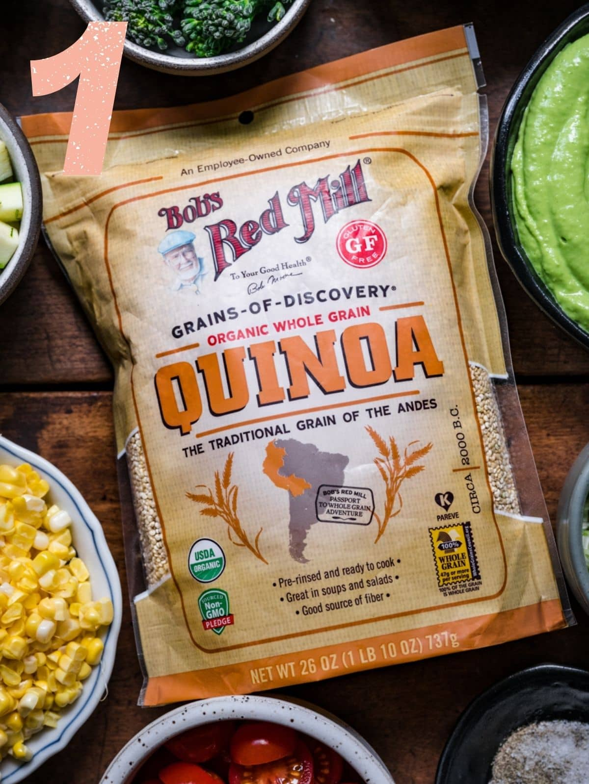 Close up of Bob's Red Mill Quinoa package.