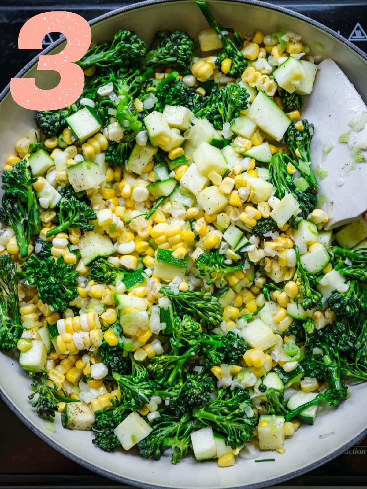 Step 3: cooking corn, zucchini, broccolini.