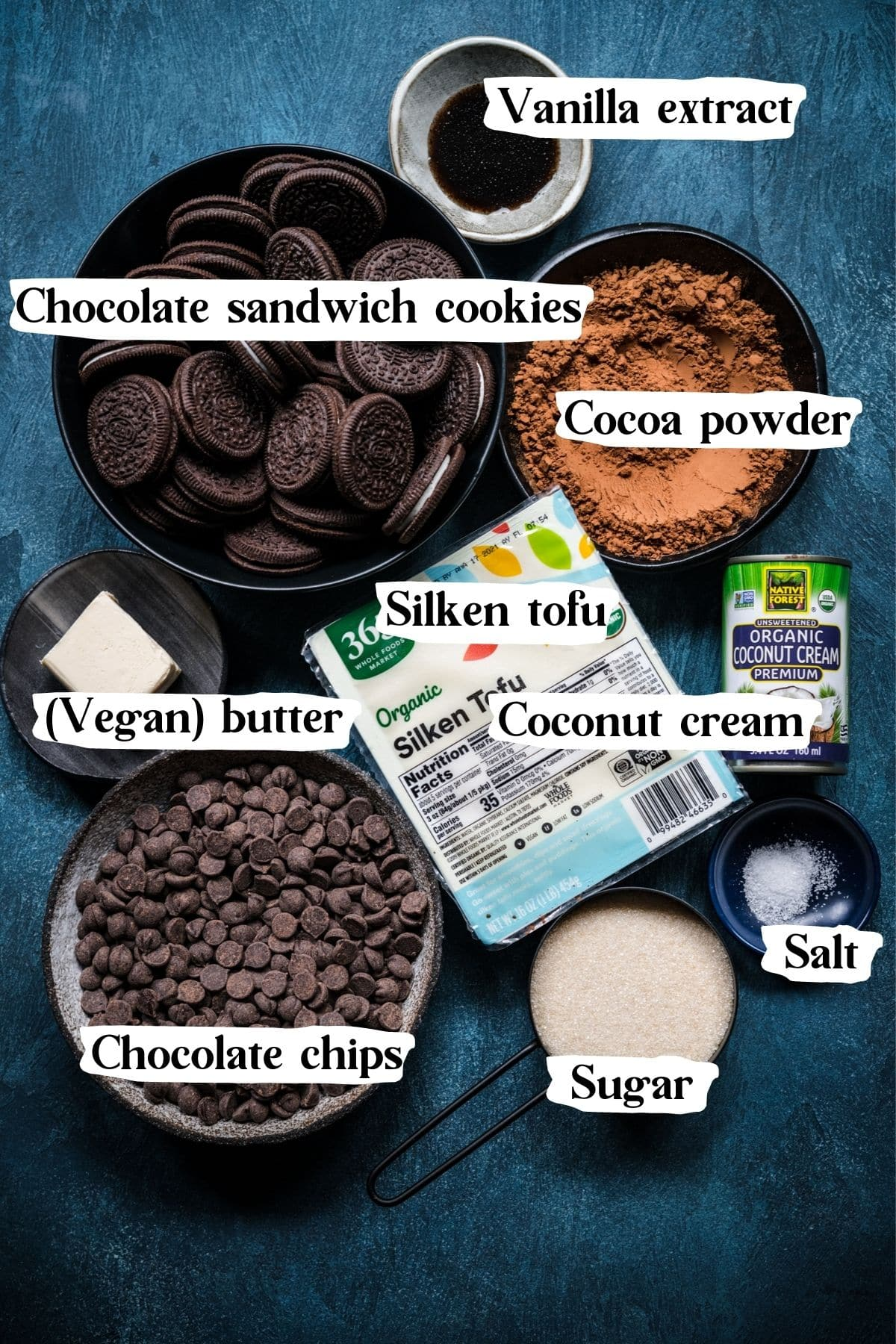 Overhead view of all ingredients for the vegan chocolate pie.