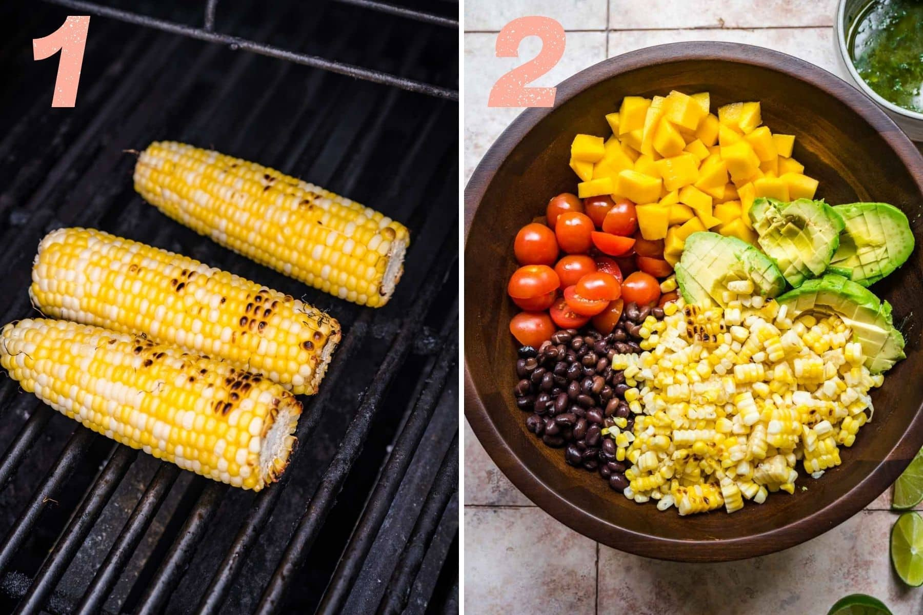 on the left: corn on the grill. on the right: black bean mango salad ingredients in bowl before mixing.