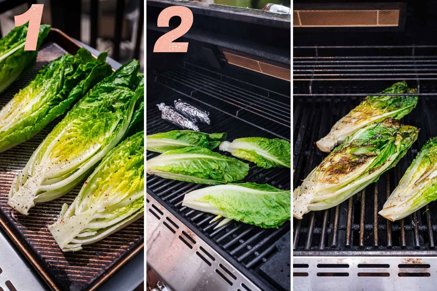 Romaine being prepped and then placed on the grill alongside corn.