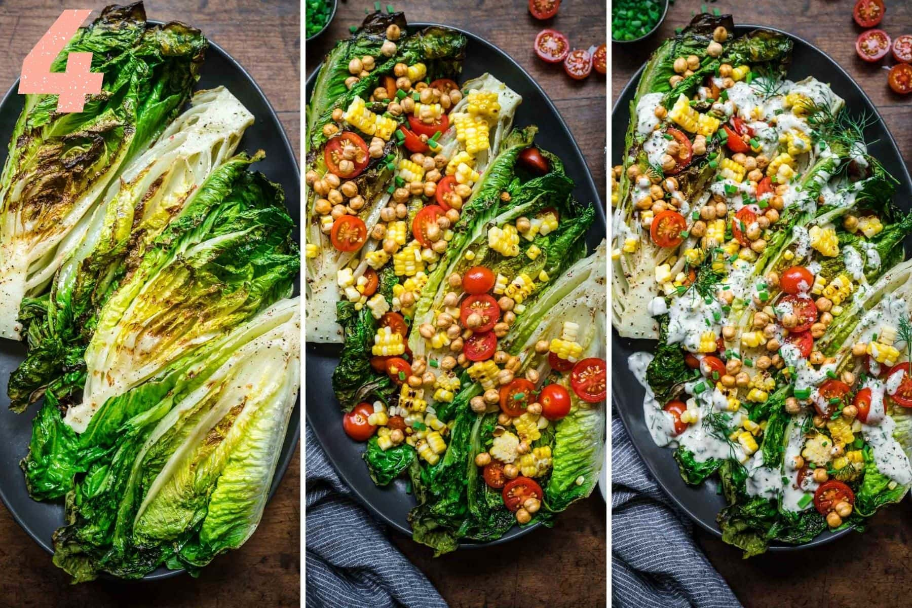 Overhead view of grilled romaine leaves plain, then with toppings, then with ranch dressing added.
