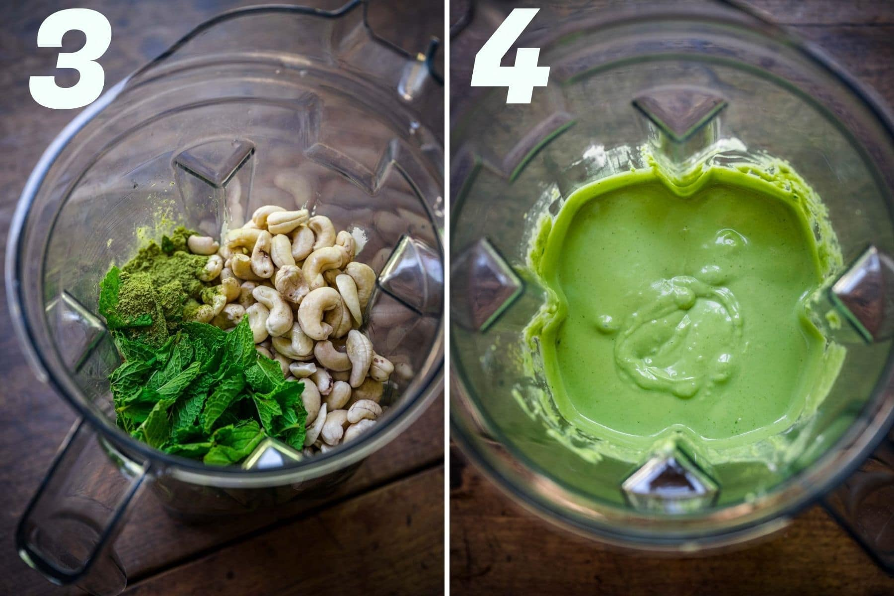 On the left: cheesecake ingredients in a blender. On the right: cheesecake mixture after blending.