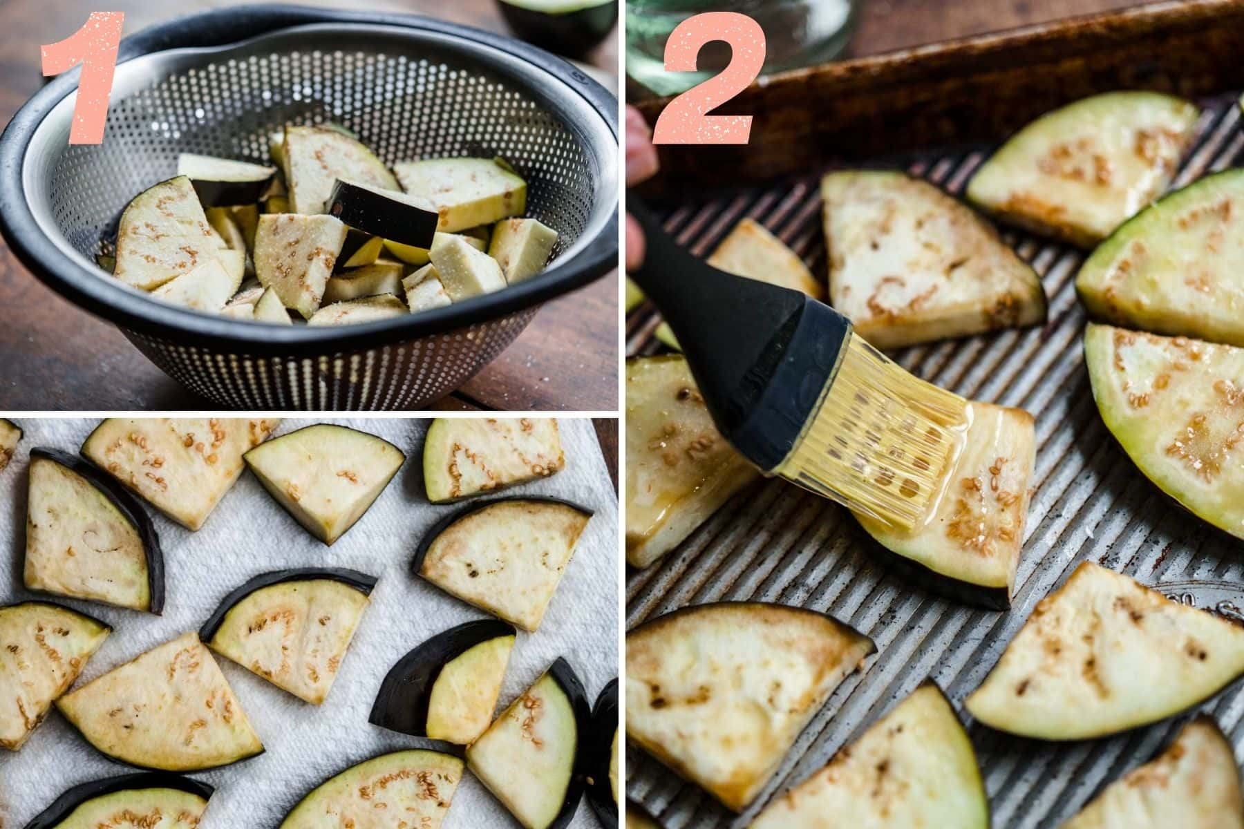 On the left: eggplant in a colander after salting. On the right: eggplant being brushed with sesame oil.