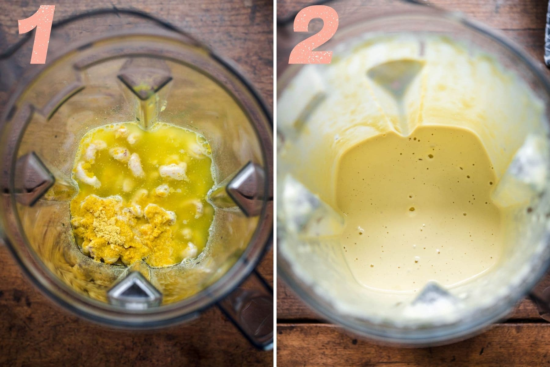 On the left: alfredo sauce ingredients in a blender. On the right: alfredo sauce after being blended.