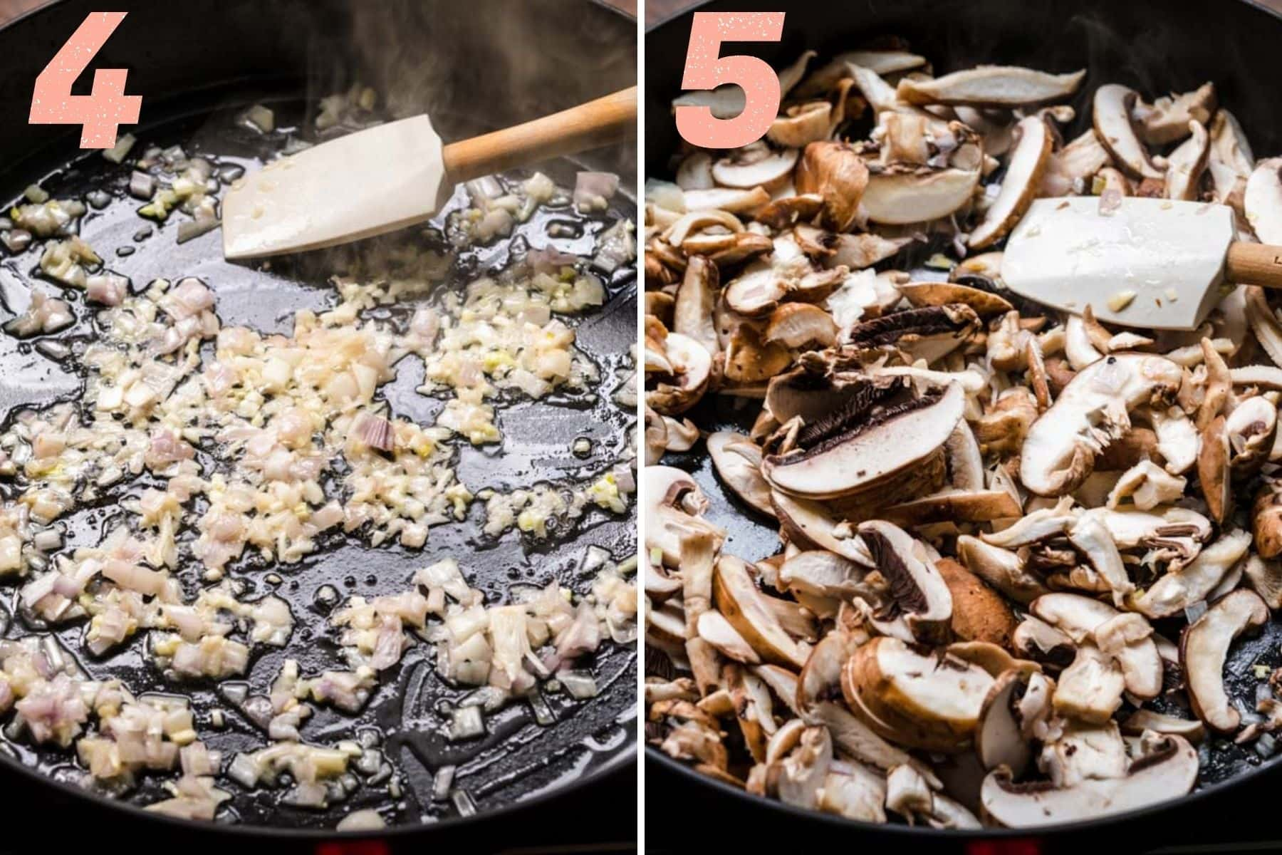 On the left: shallots and garlic cooking in a pan. On the right: mushrooms cooking in a pan.