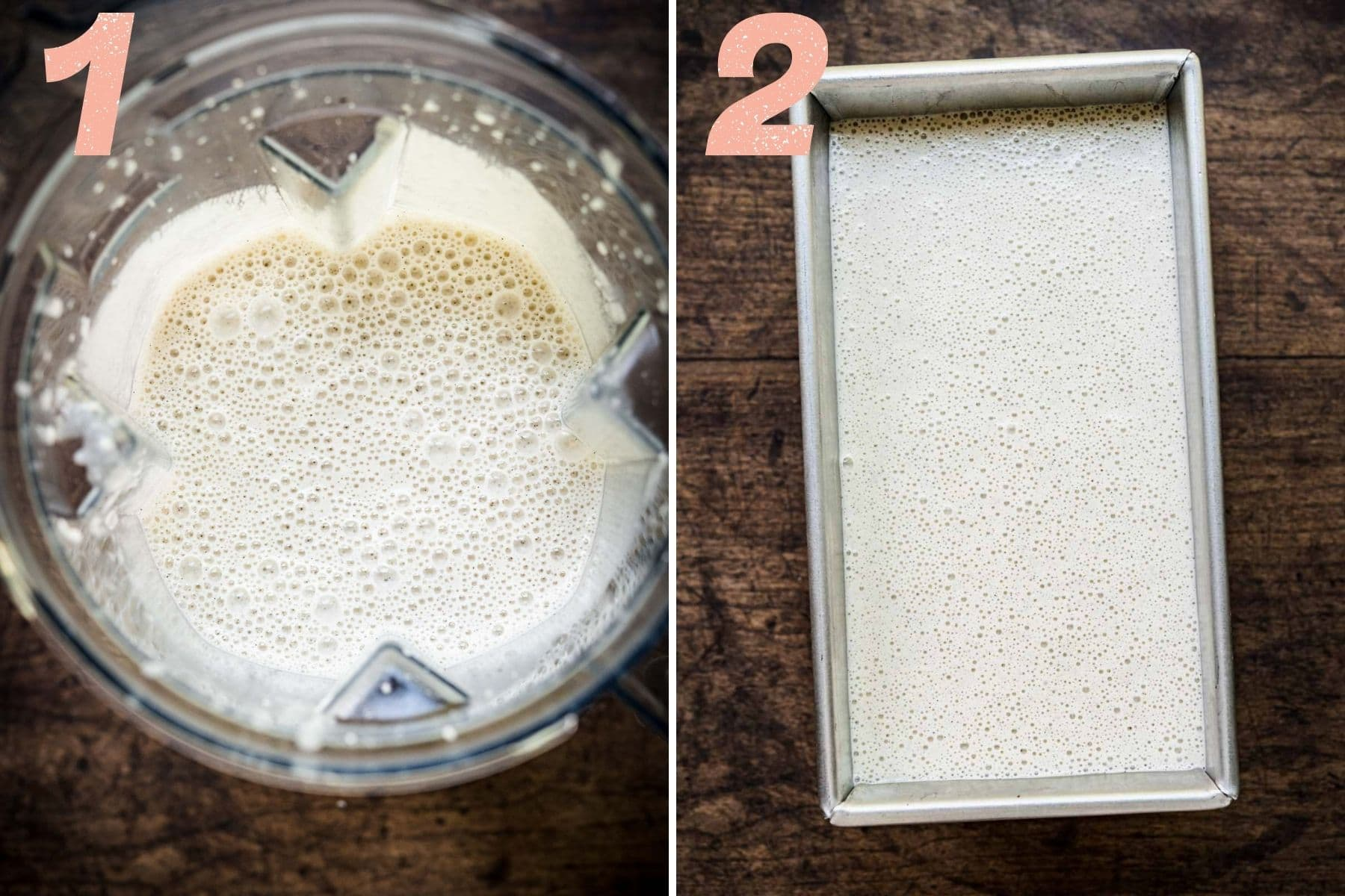 On the left: ingredients in blender after blending. On the right: blended mixture in a pan before freezing.