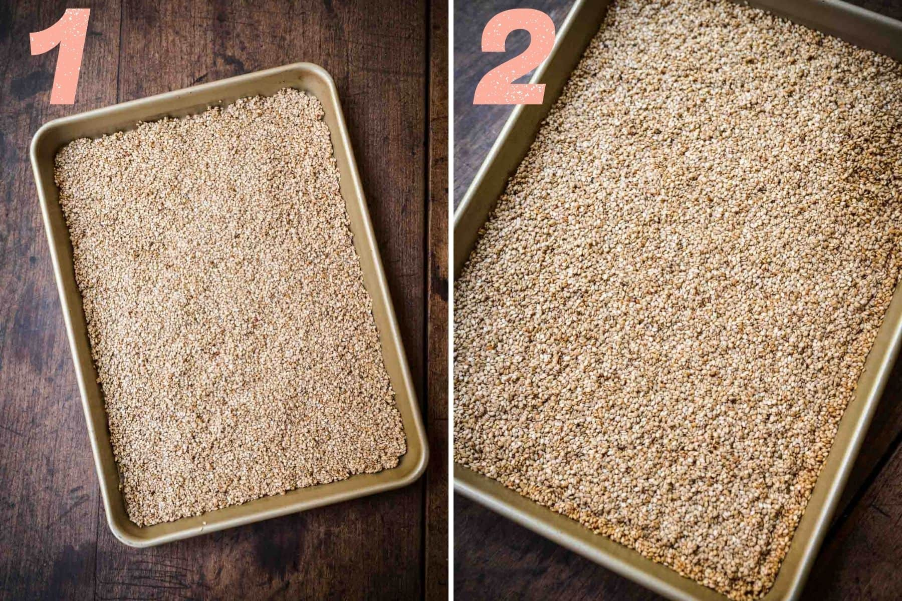 On the left: sesame seeds on a tray. On the right: sesame seeds after baking.