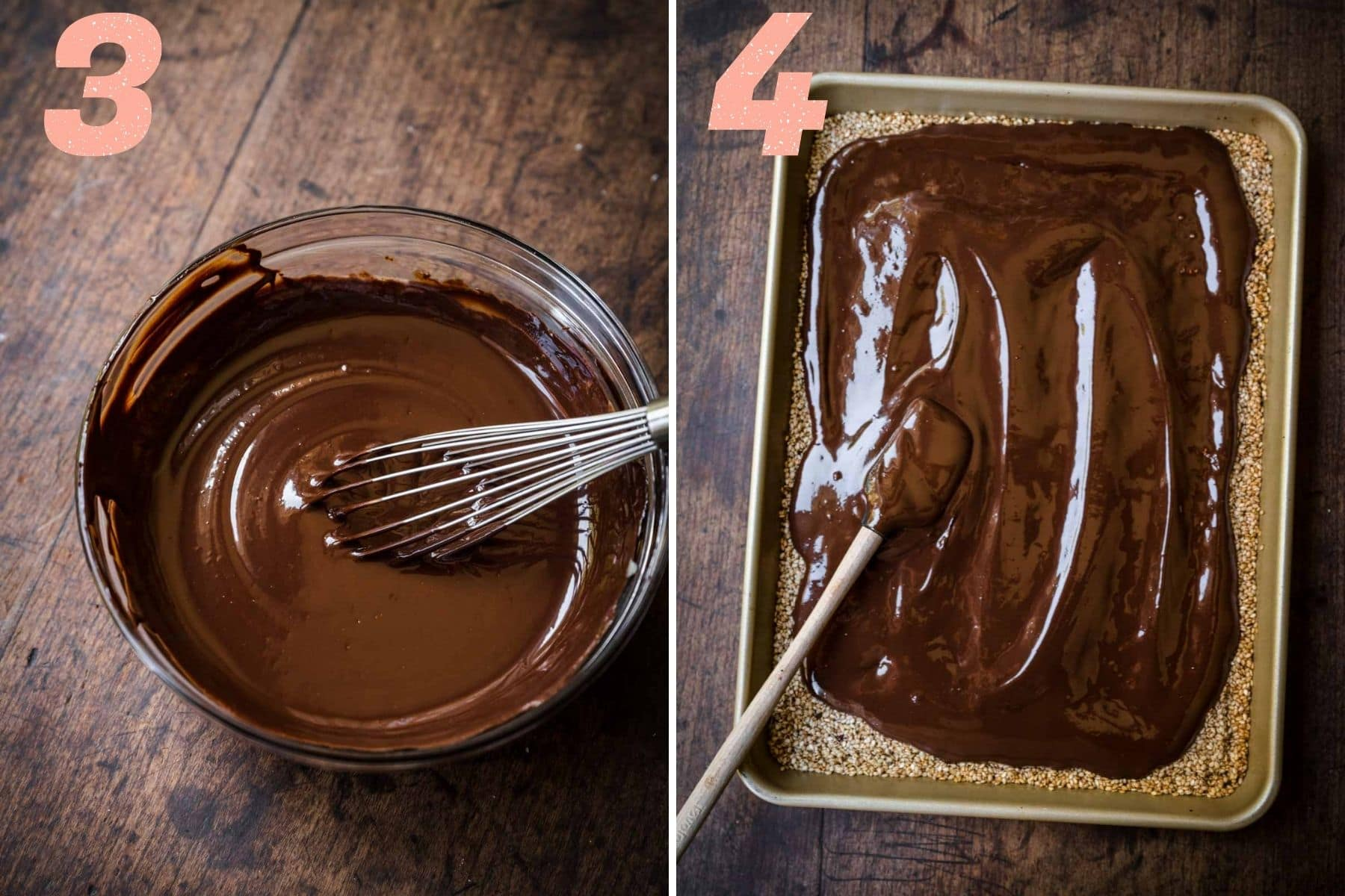 On the left: chocolate melted and mixed. On the right: chocolate being smeared on top of the sesame seeds.