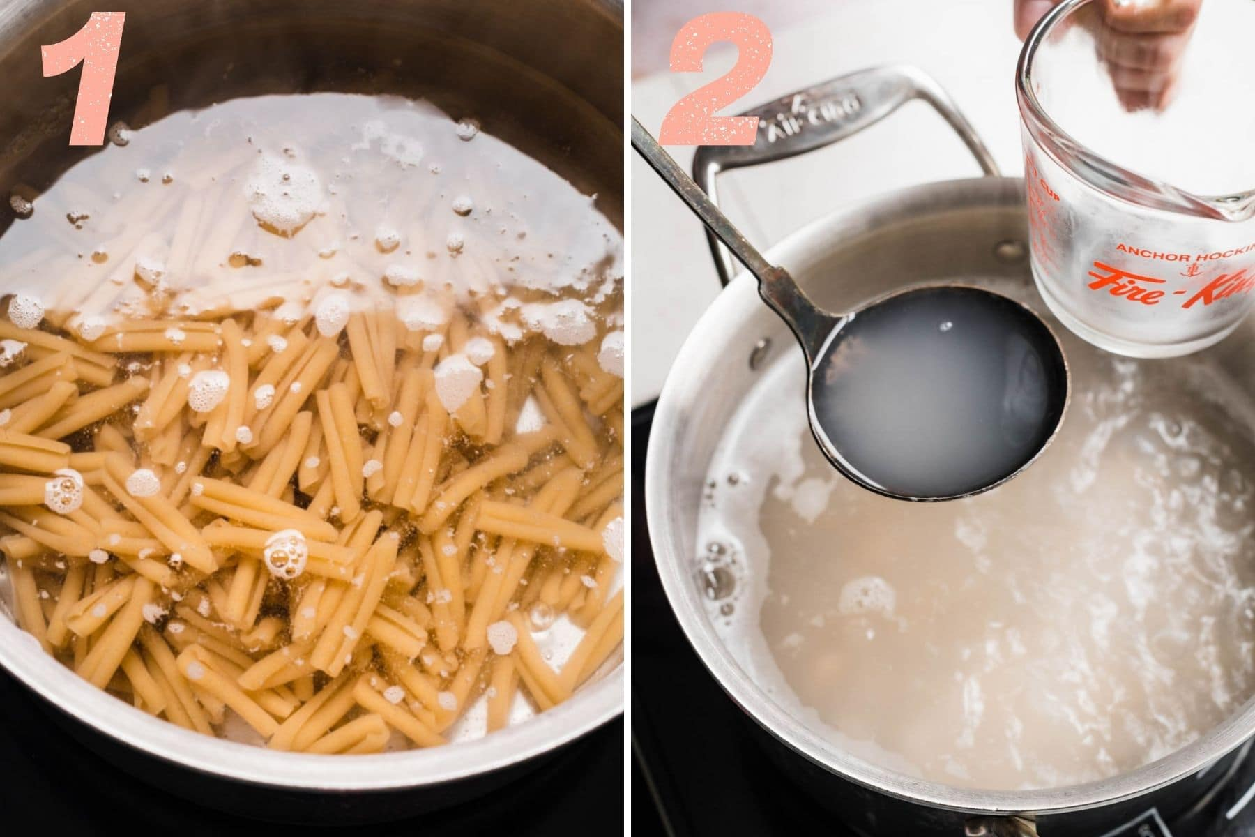 On the left: pasta cooking in water. On the right: removing a ladleful of pasta water from the pot.
