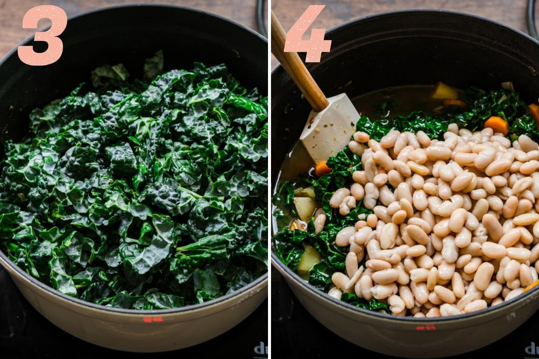 On the left: kale added to pot. On the right: cannellini beans added to pot.
