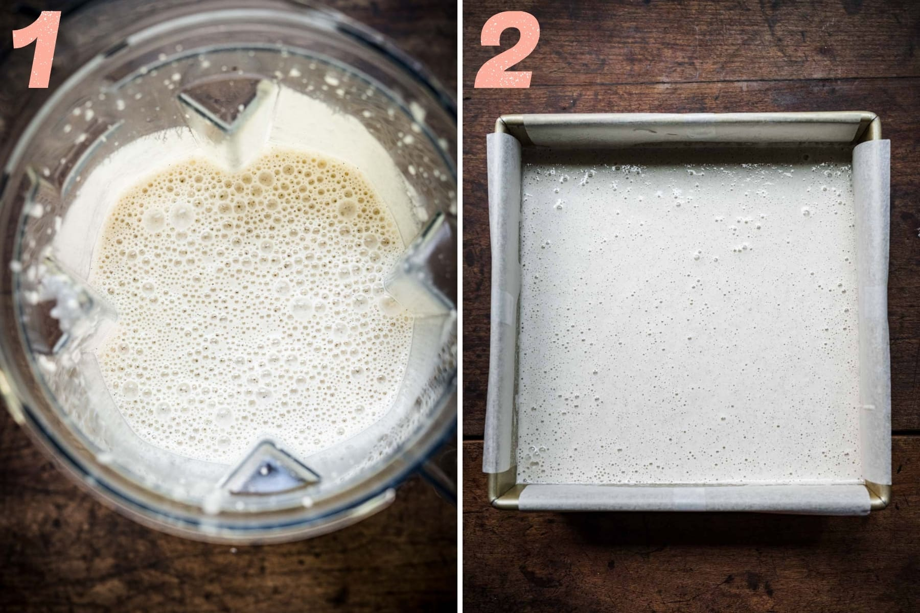 before and after pouring vegan no churn ice cream base from blender into pan.