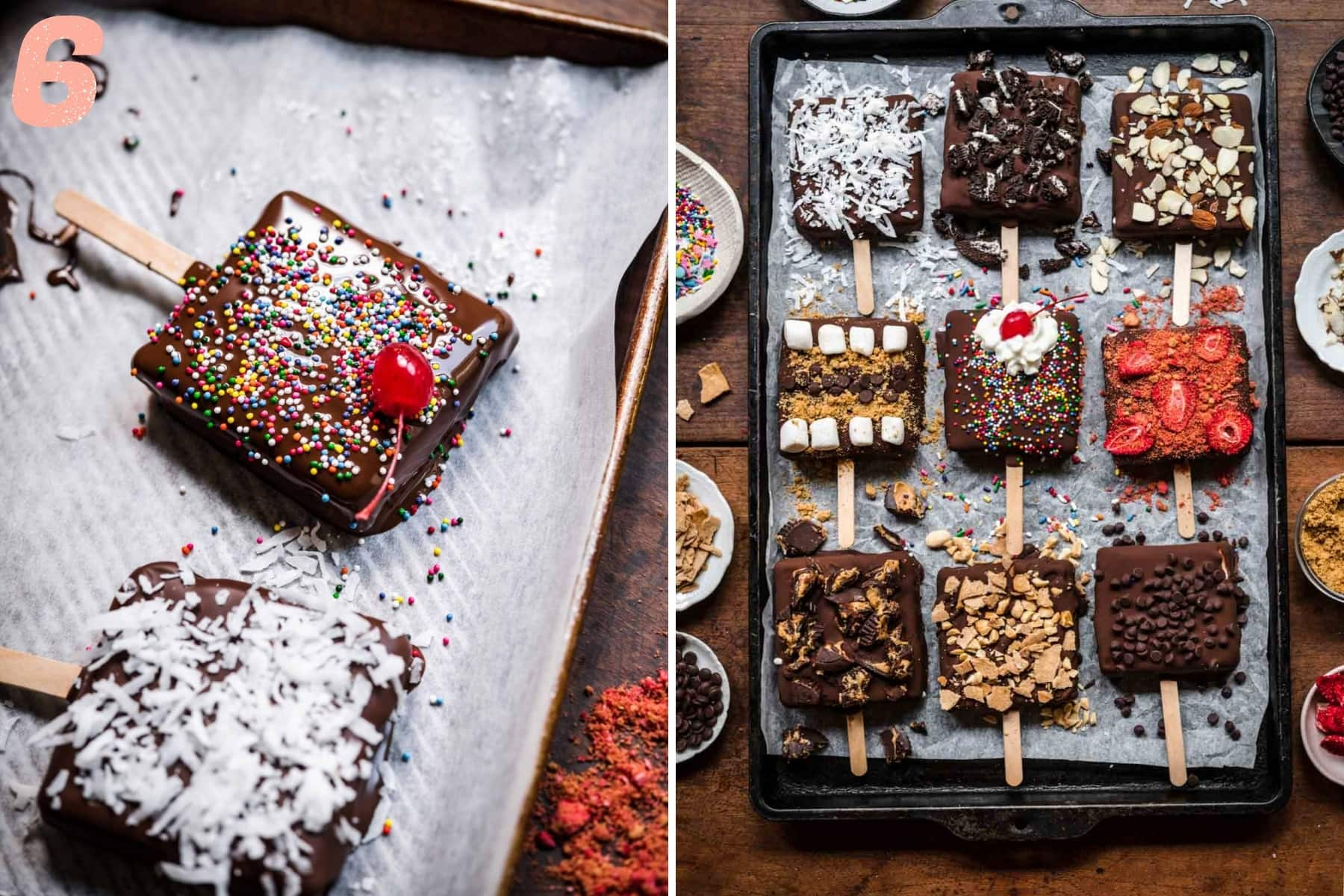 vegan ice cream bars with toppings on parchment paper.