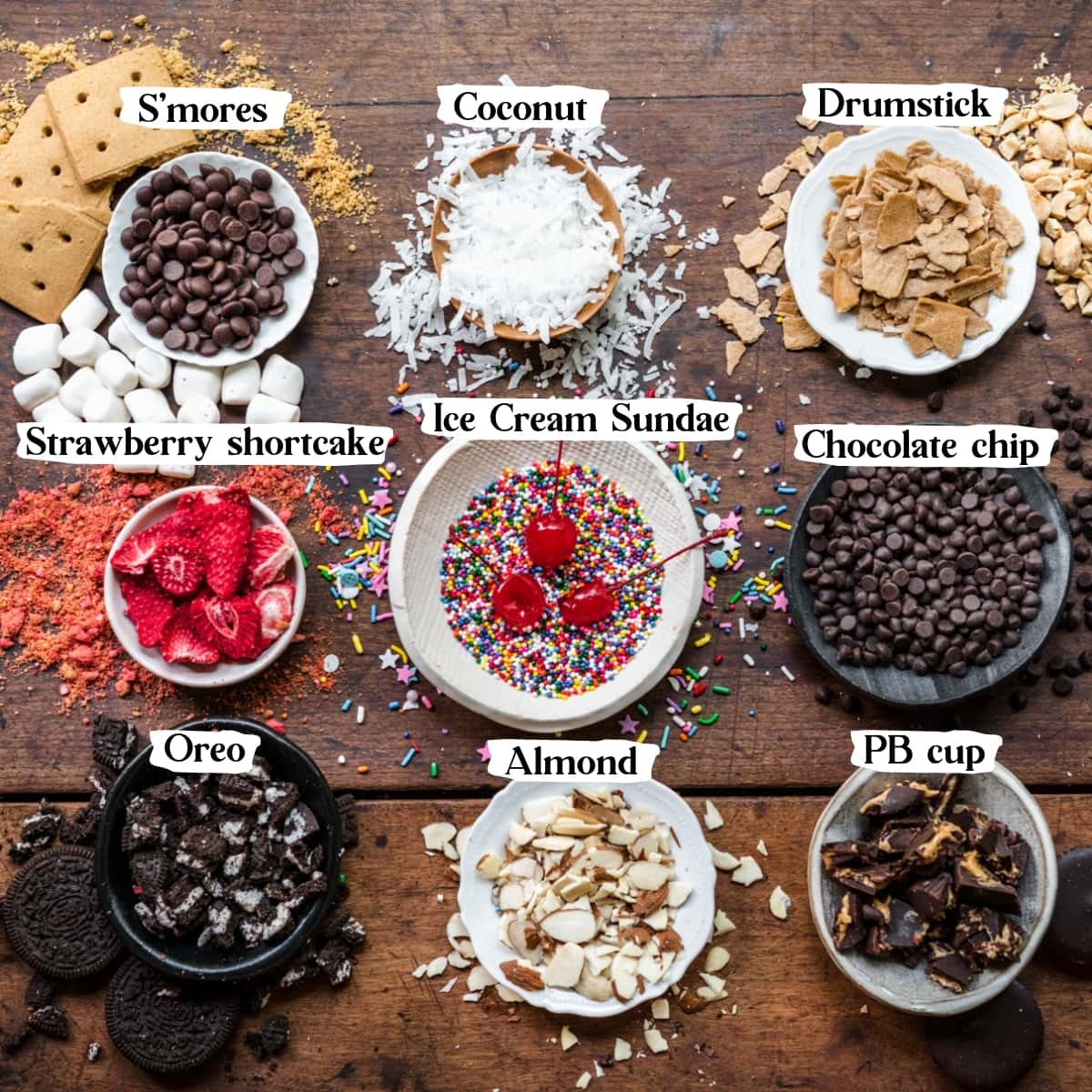 overhead view of various topping combinations for vegan ice cream bars.