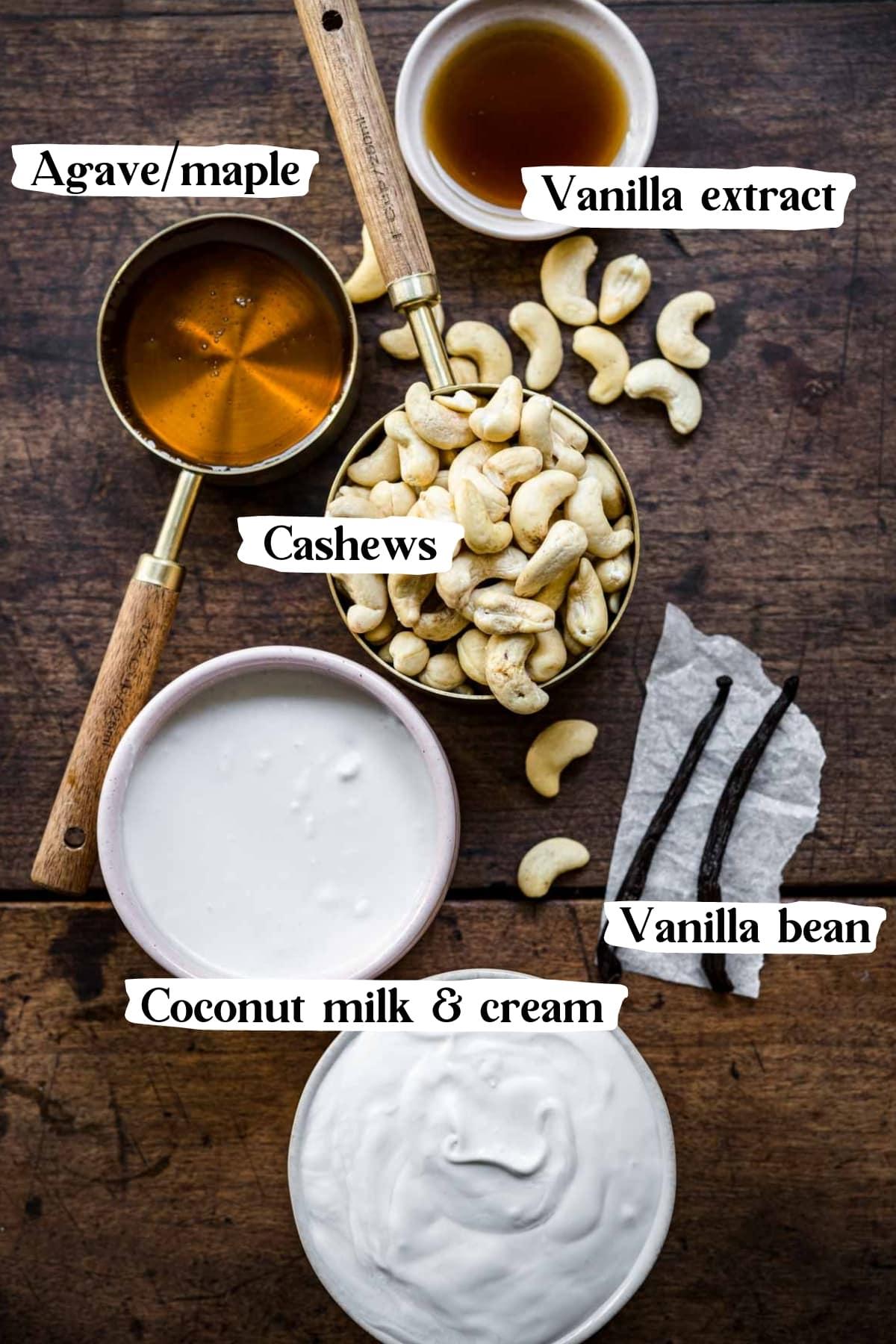 overhead view of ingredients for no churn vegan vanilla ice cream.