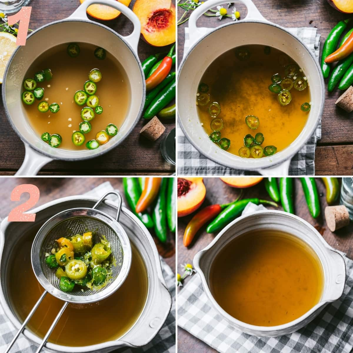 4 photos showing how to make serrano pepper infused simple syrup.