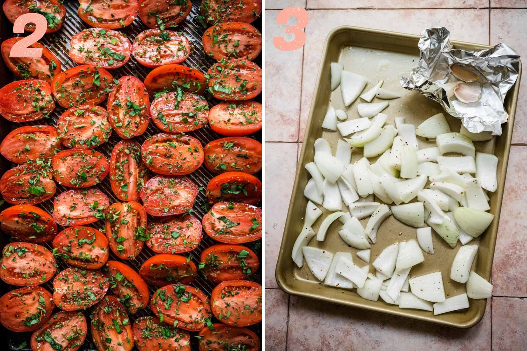 on the left: tomatoes on sheet pan before roasting. on the right: onions and garlic on sheet pan before roasting.