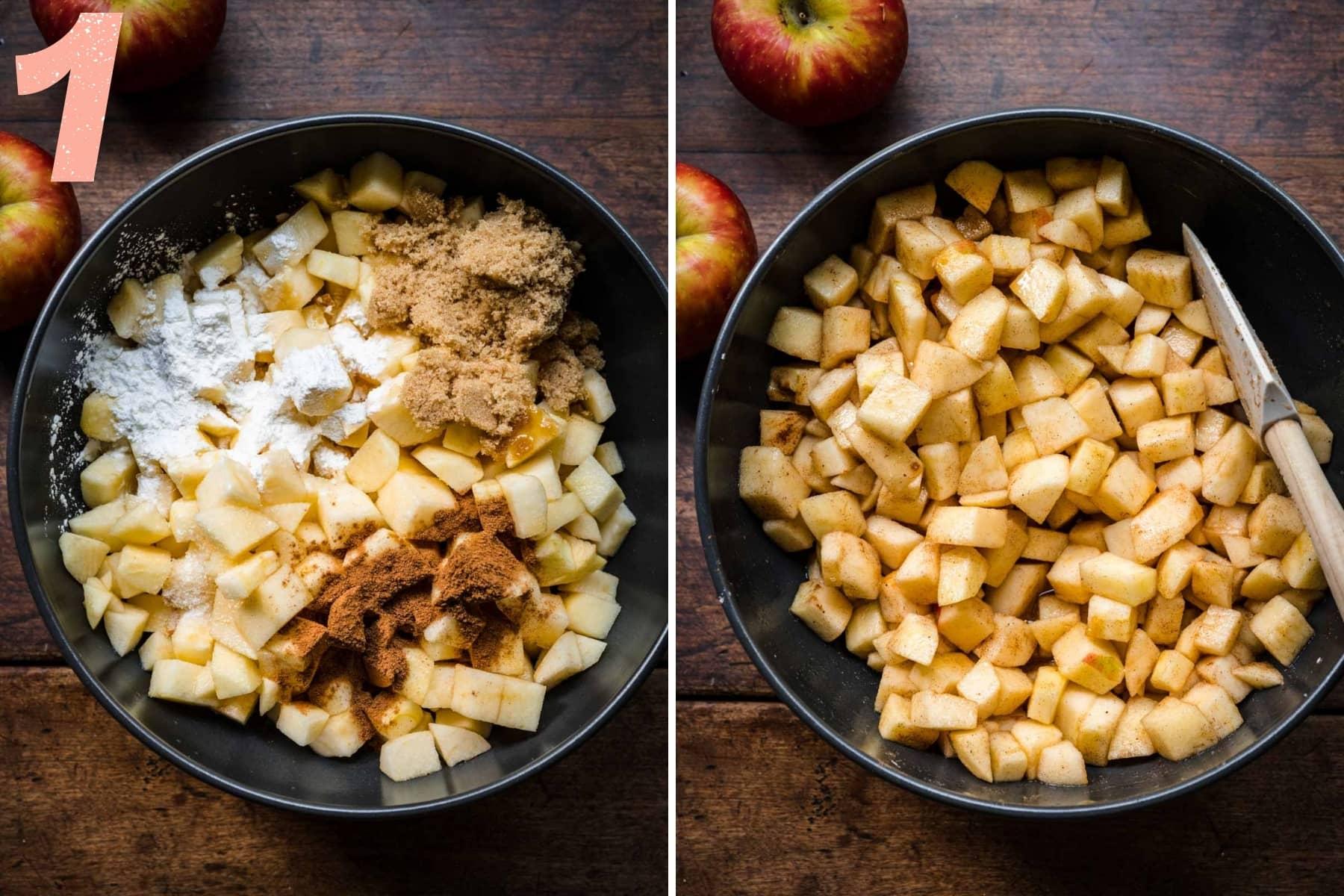 before and after stirring together ingredients for vegan apple crisp filling in black mixing bowl.