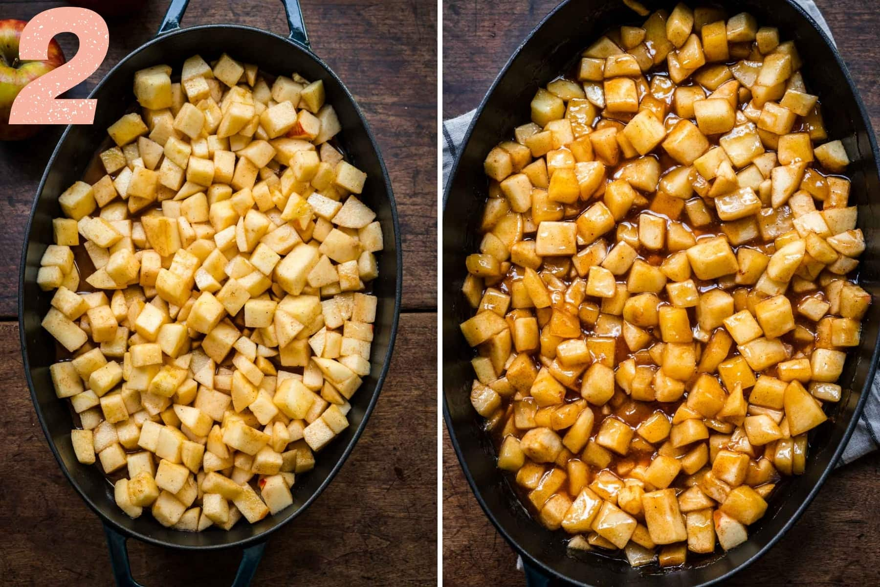 before and after baking cinnamon maple apple filling for crisp in baking dish.
