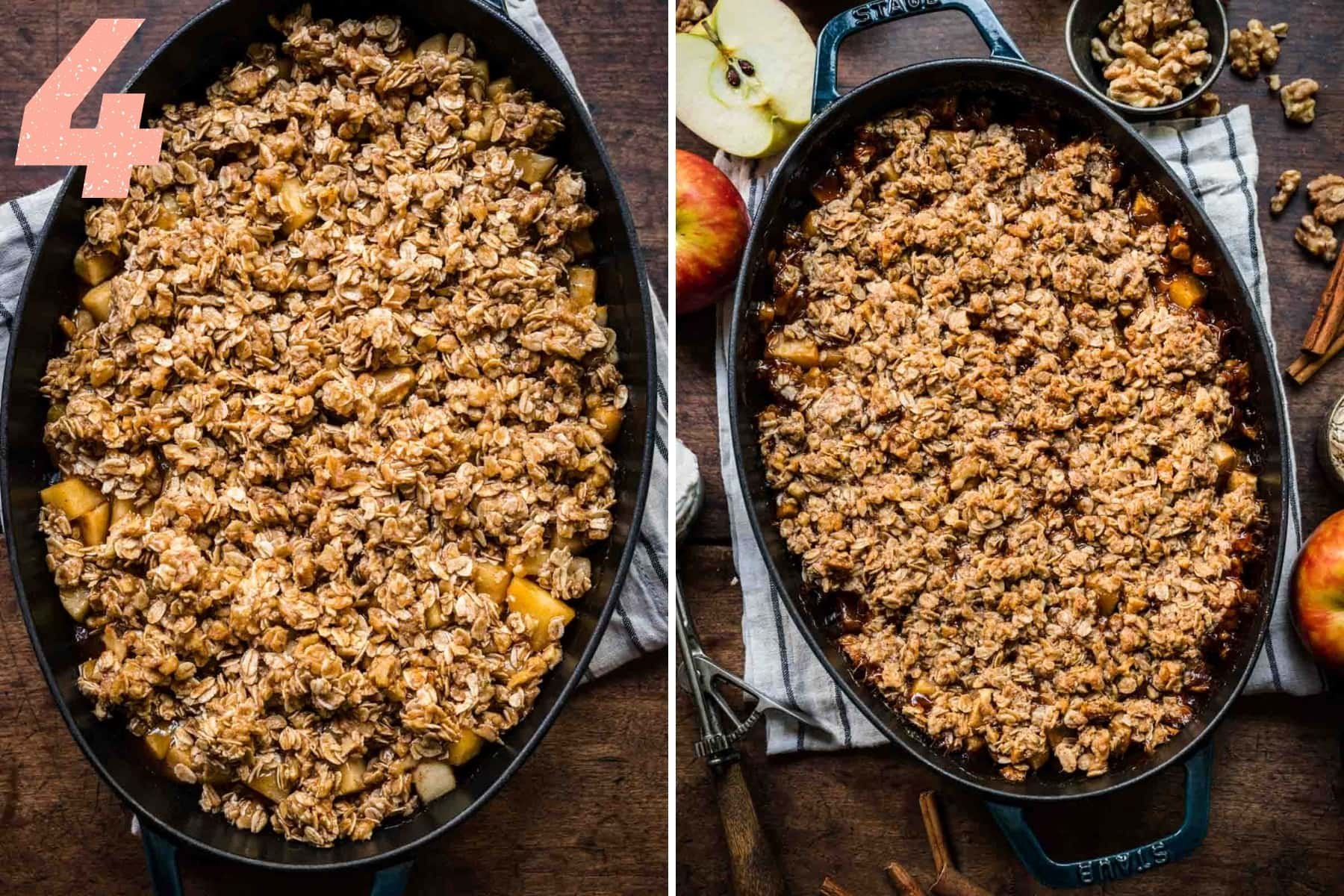 before and after baking gluten free apple crisp in skillet.