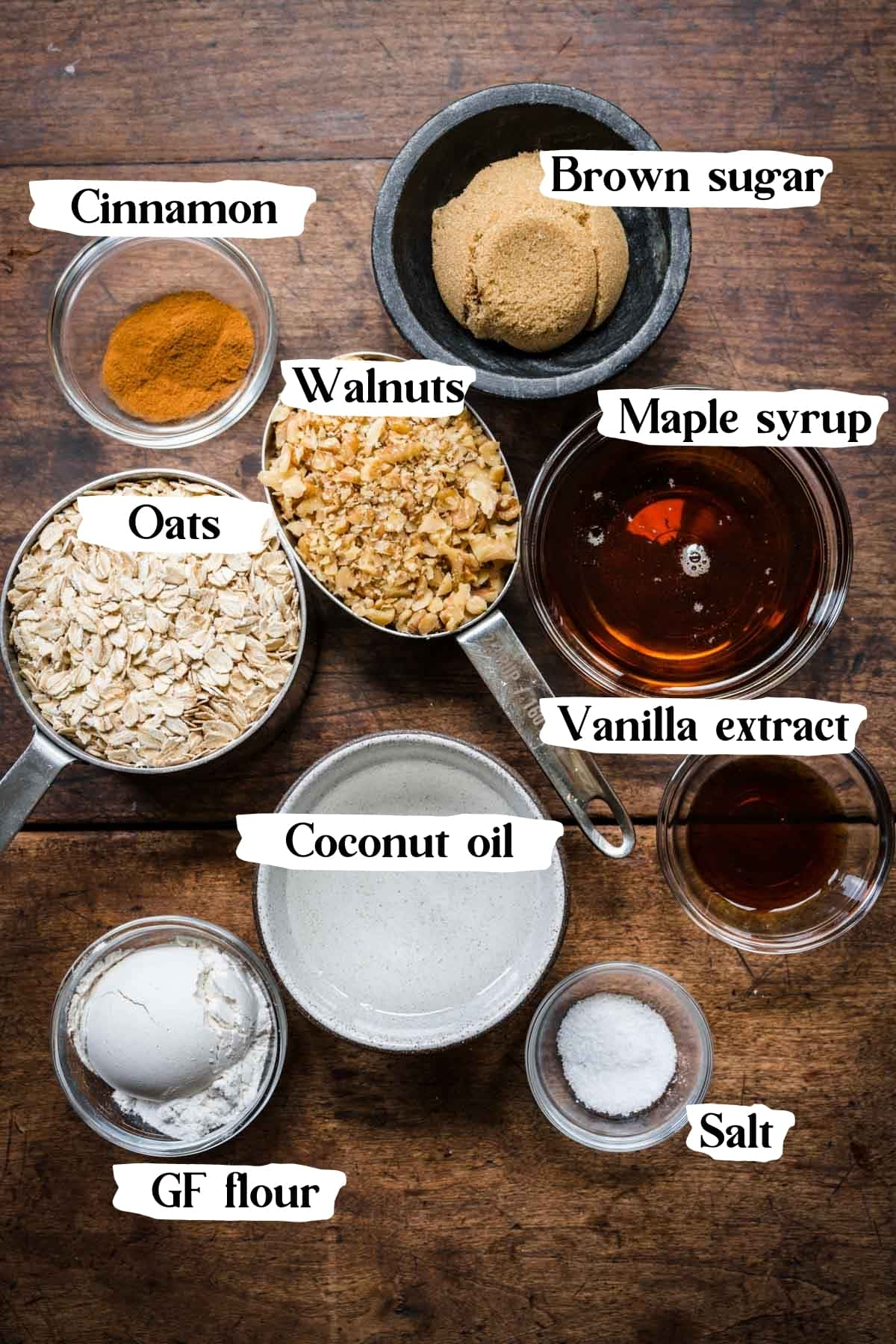 overhead view of ingredients for gluten free apple crisp topping in small prep bowls.