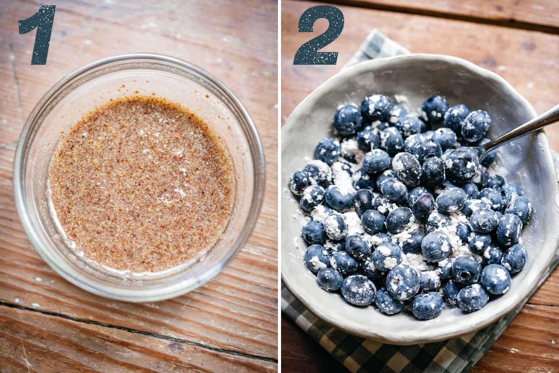 On the left: flax meal stirred with water. On the right: blueberries coated in flour.