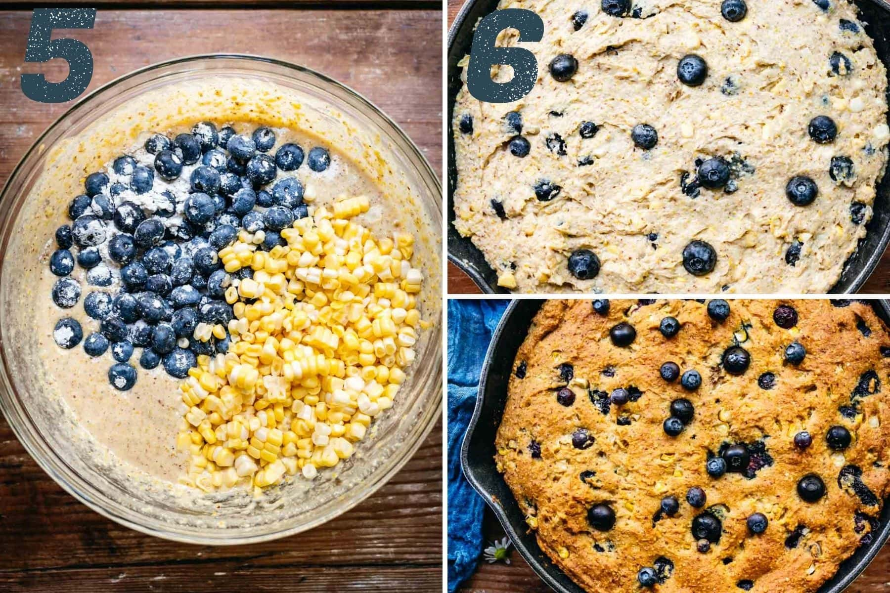 On the left: adding blueberries and corn to the batter. On the right: batter in skillet before and after cooking.