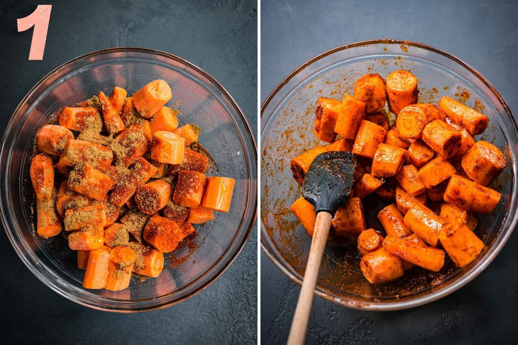 On the left: bowl of chopped carrots with spices added. On the right: carrots in a bowl after mixing.