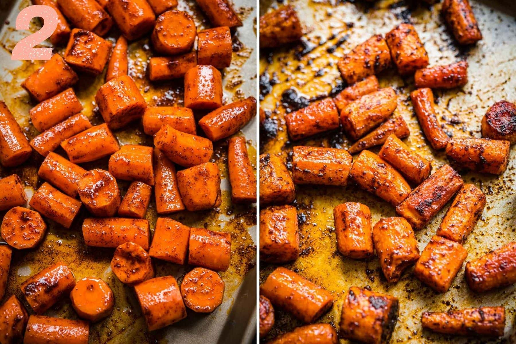 On the left: carrots on a sheet pan before roasting. On the right: carrots after roasting.