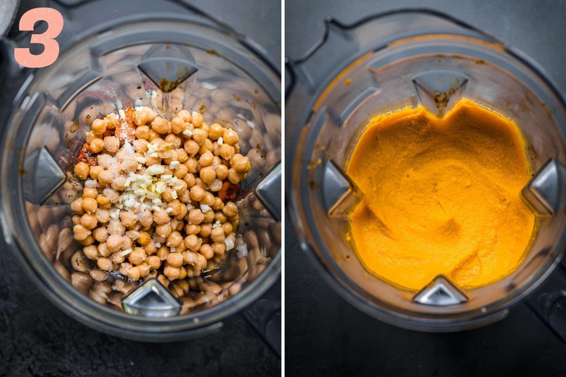 On the left: carrot dip before blending. On the right: dip after blending.