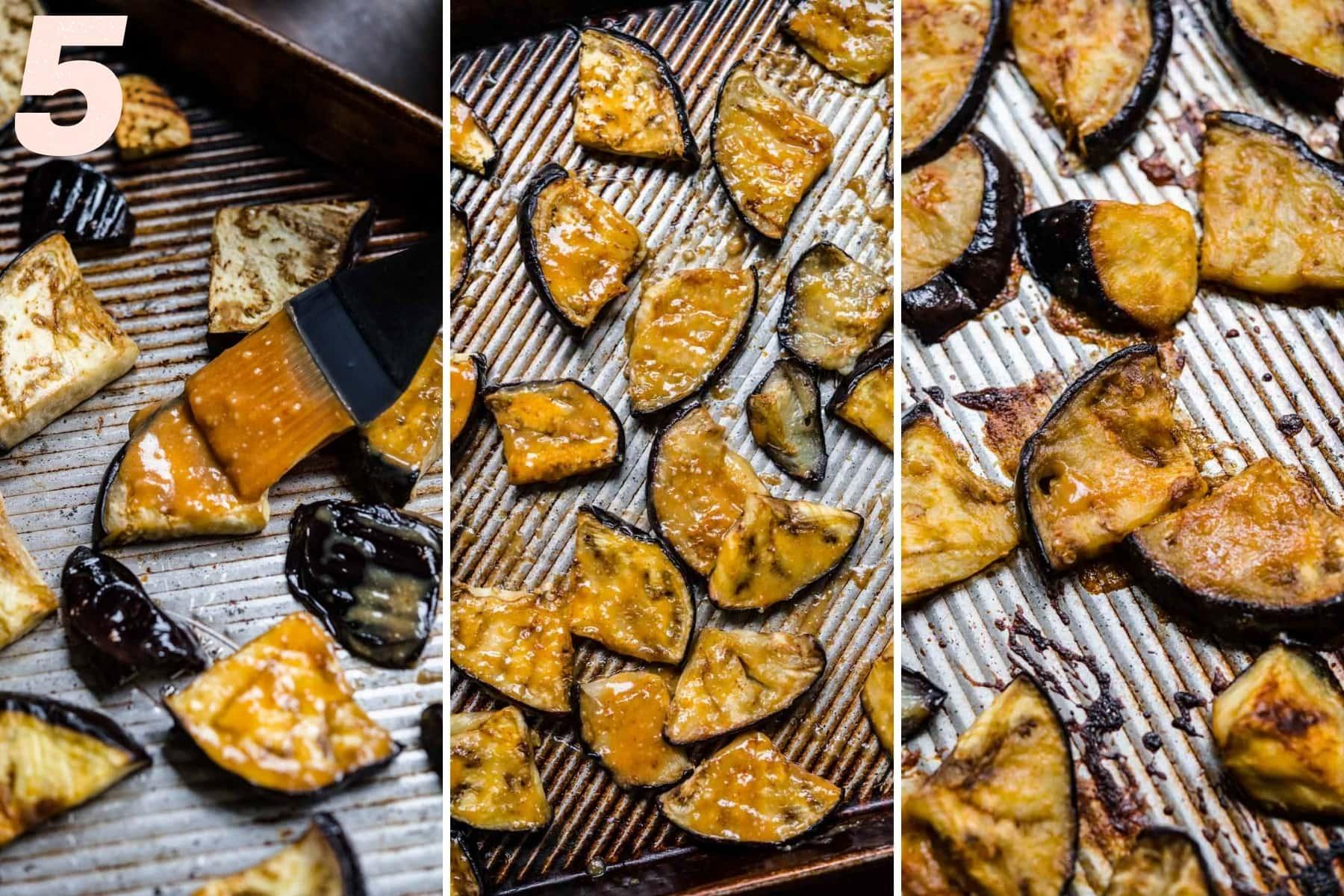 brushing eggplant slices with miso glaze and baking on sheet pan.