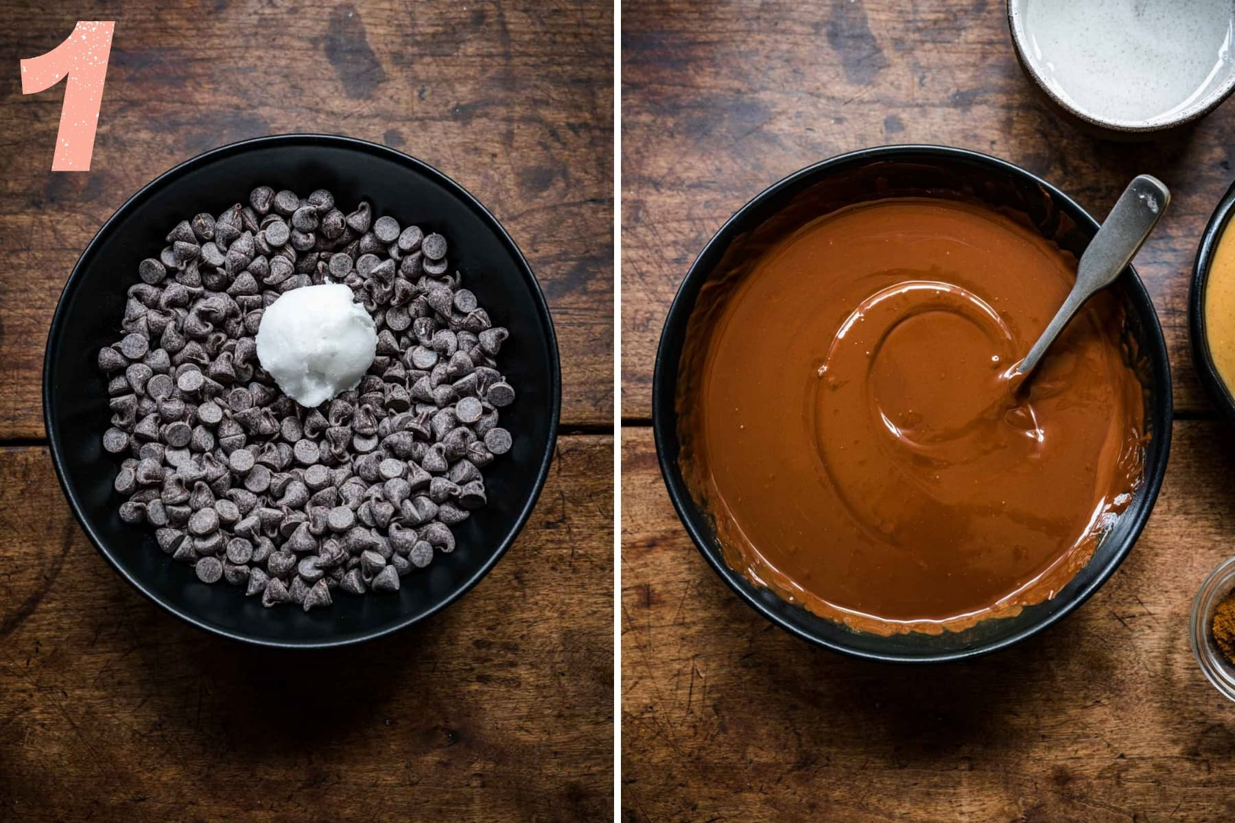 before and after melting dark chocolate chips with a small amount of coconut oil.