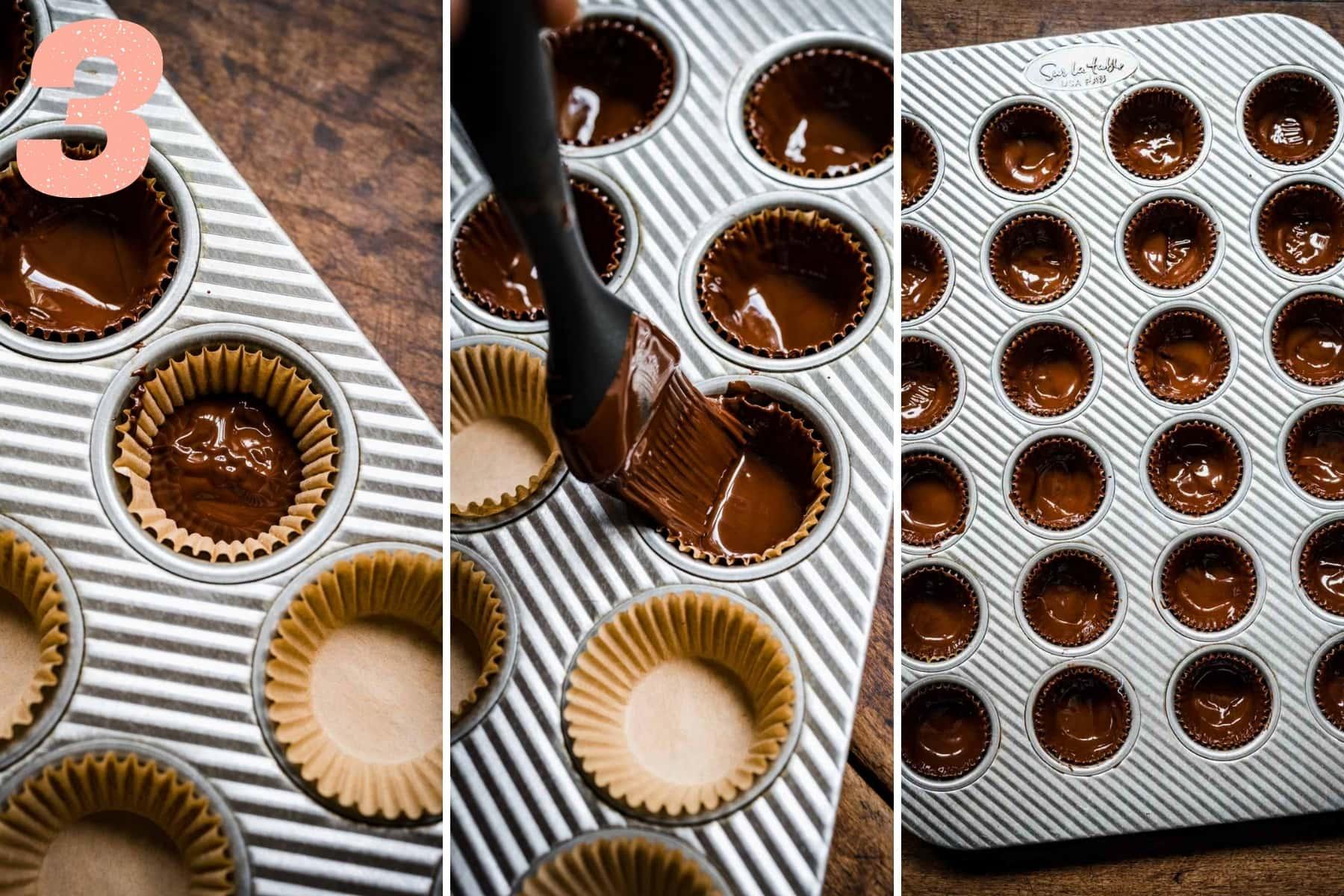 three photos showing brushing dark chocolate up the sides of mini muffin tins.