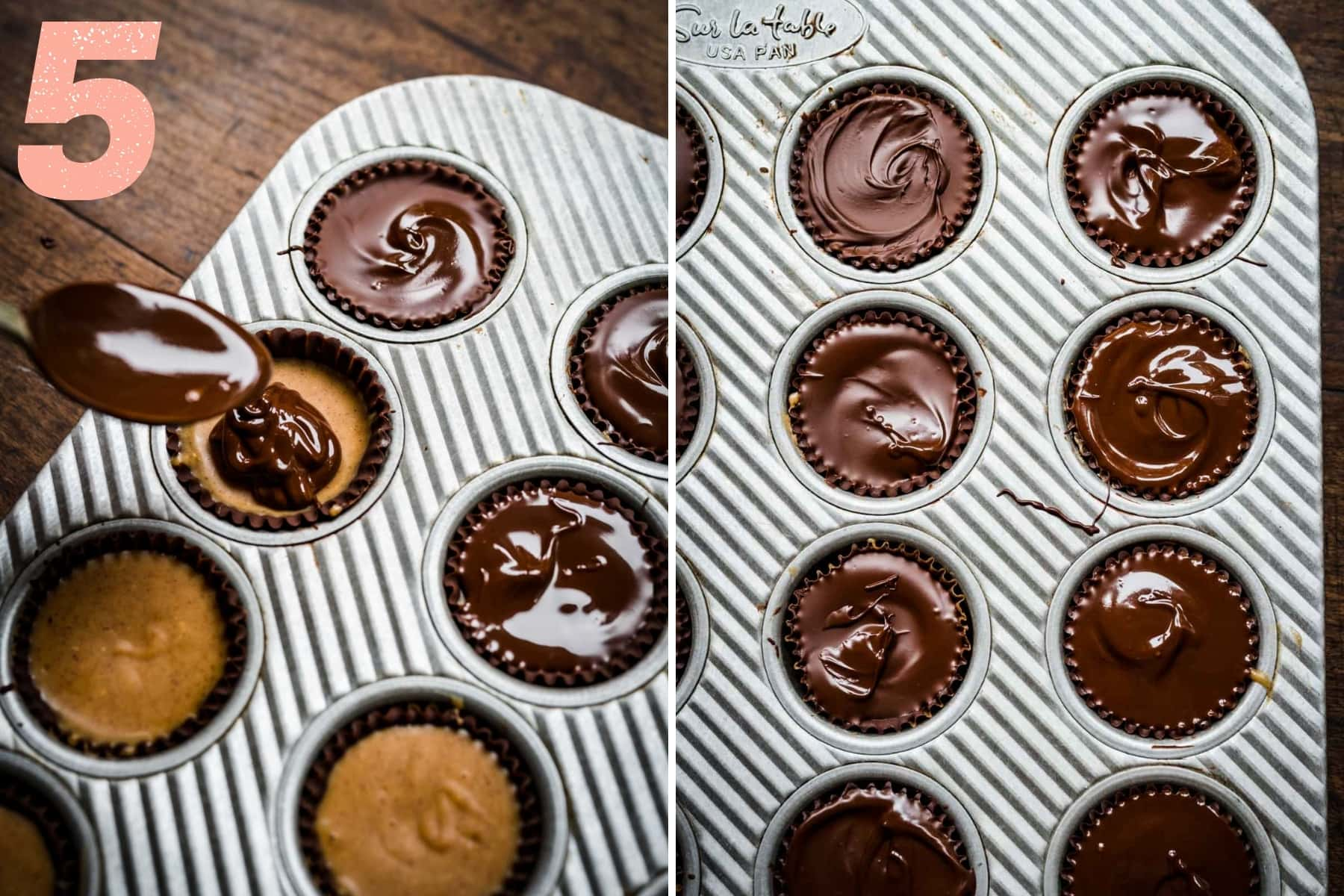 spooning a layer of melted chocolate on top of peanut butter filling to make peanut butter cups in mini muffin tin.