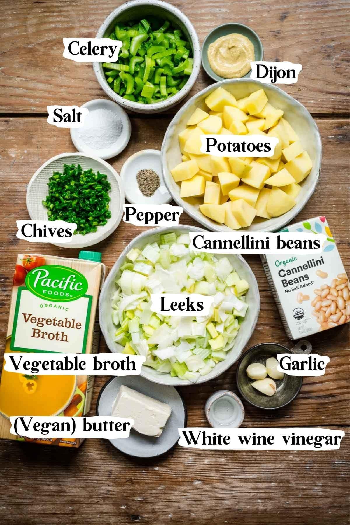 Overhead view of potato leek soup ingredients.