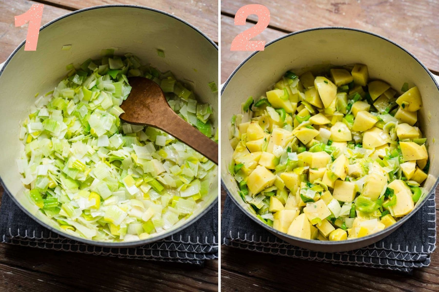 On the left: leeks sauteing in a pot. On the right: potatoes are added to the pot.