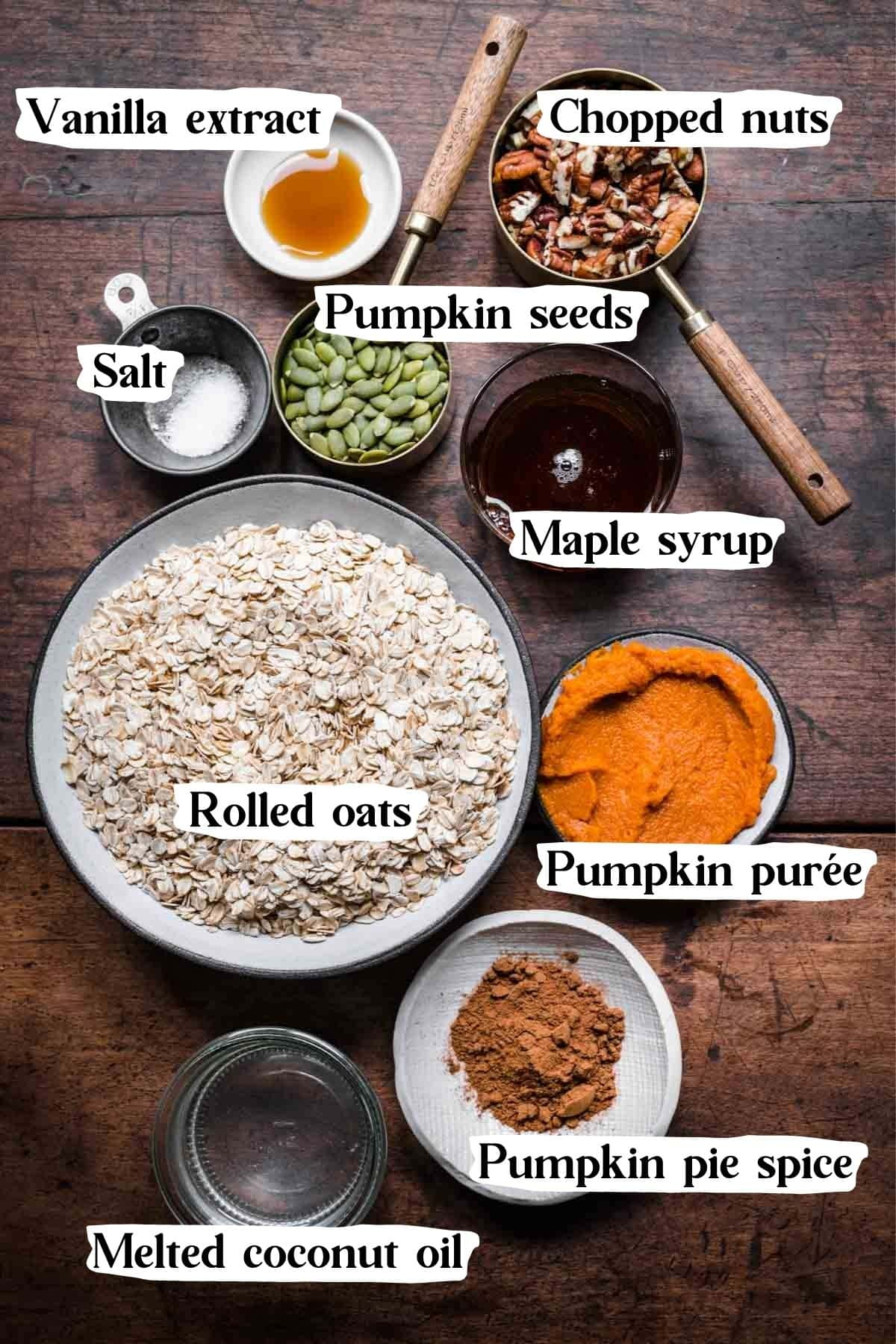 Overhead view of pumpkin spice granola ingredients.
